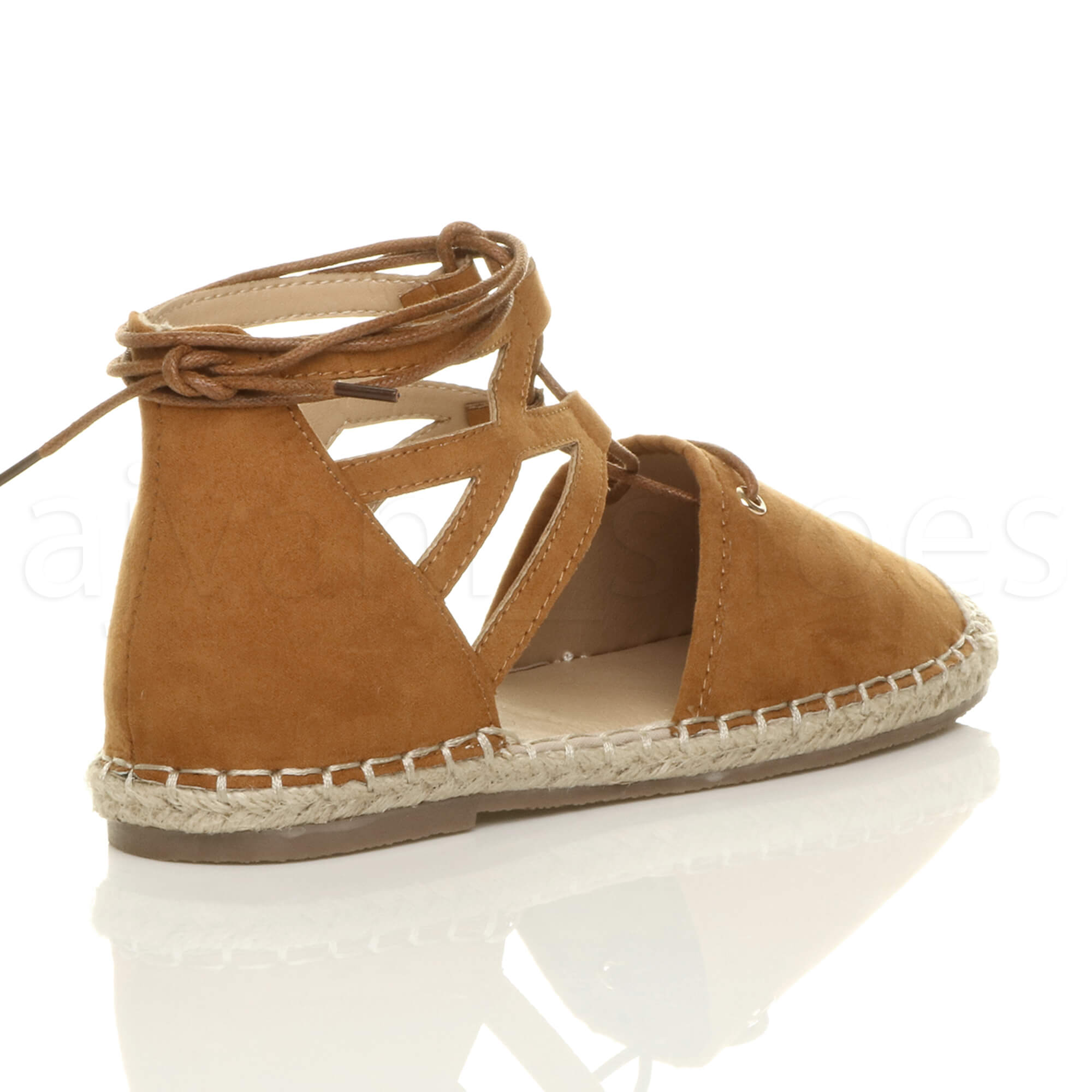 WOMENS-LADIES-FLAT-LACE-UP-GHILLIE-CUT-OUT-ESPADRILLES-SUMMER-SHOES-SANDALS-SIZE
