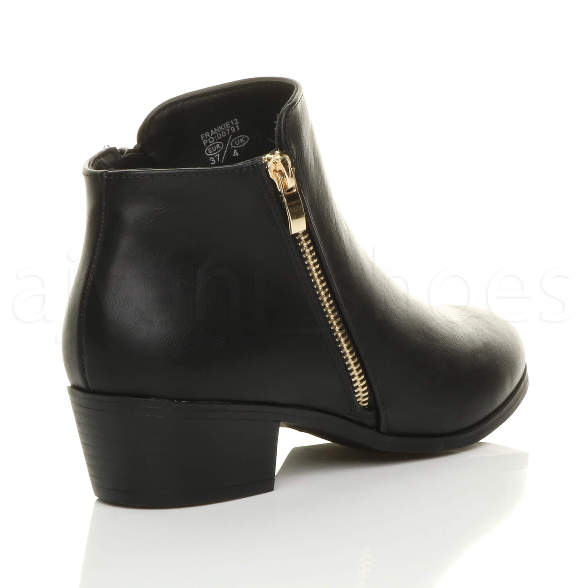WOMENS-LADIES-LOW-MID-CUBAN-HEEL-GOLD-ZIP-SMART-WESTERN-PIXIE-ANKLE-BOOTS-SIZE