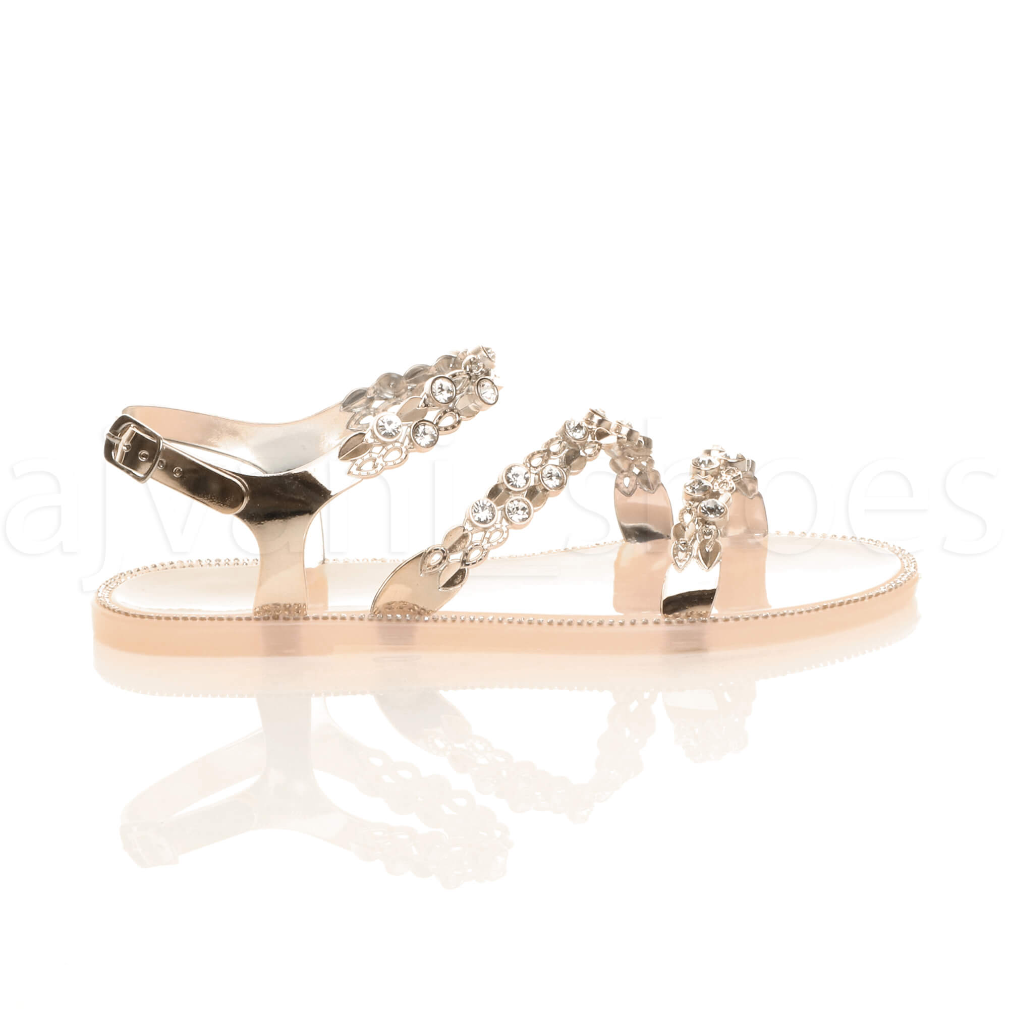 WOMENS LADIES FLAT DIAMANTE STRAPPY BUCKLE SUMMER JELLY BEACH SANDALS SIZE