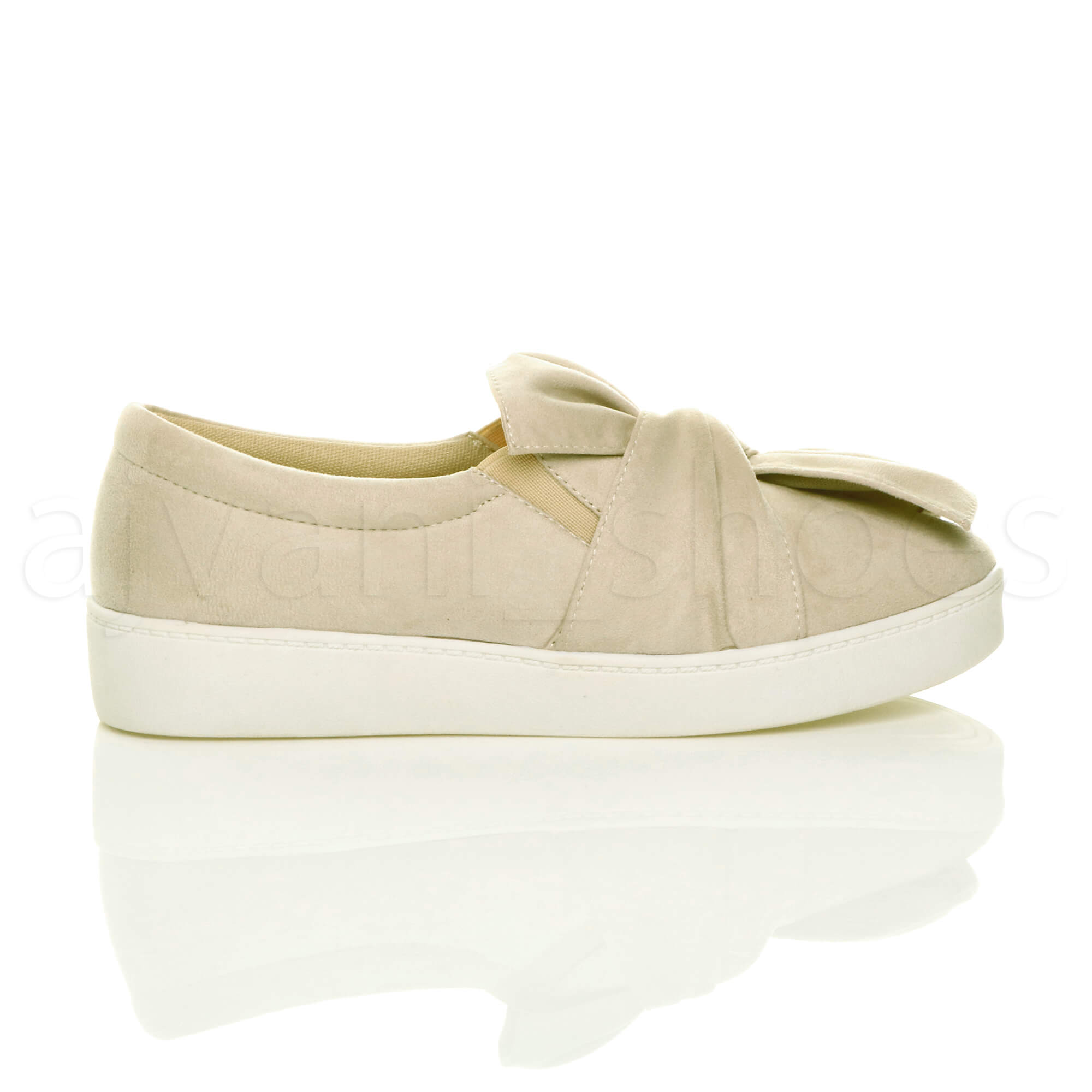 WOMENS-LADIES-FLAT-BOW-KNOT-SLIP-ON-CASUAL-SMART-PLIMSOLES-TRAINERS-PUMPS-SIZE