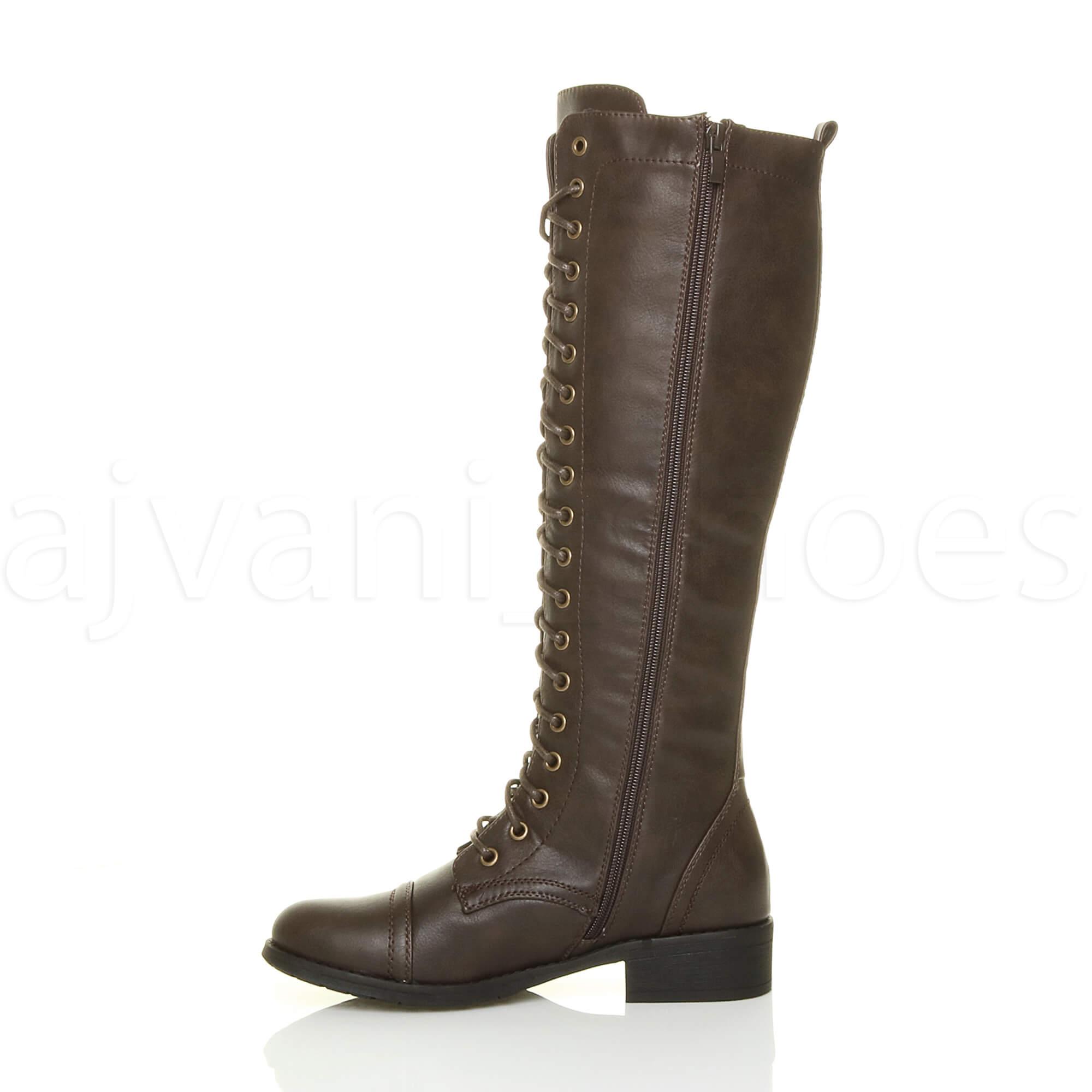 Womens Ladies Low Block Heel Lace Up Zip Knee High Calf -3888