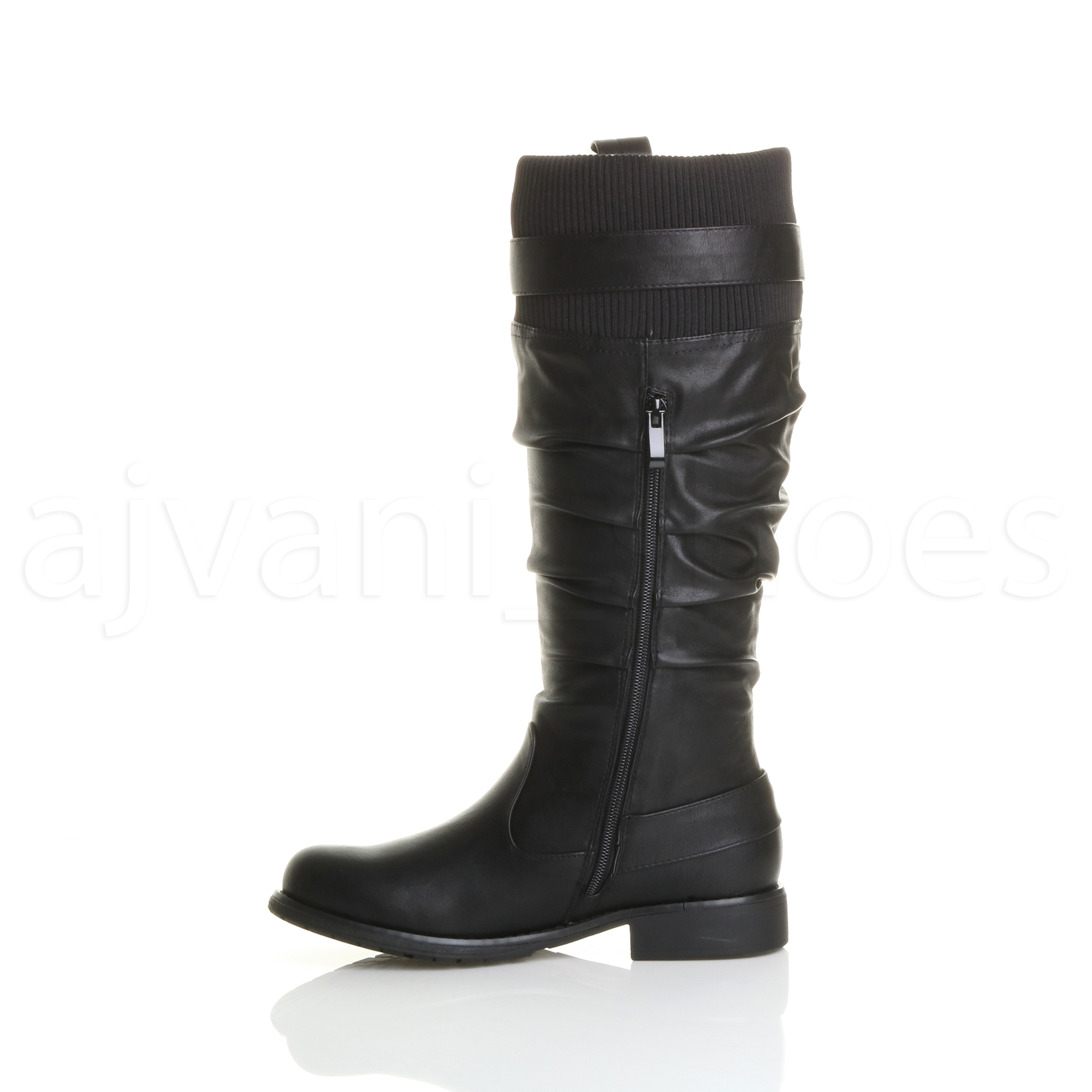 WOMENS-LADIES-LOW-HEEL-ZIP-BUCKLE-SLOUCH-KNEE-CALF-KNITTED-CUFF-BIKER-BOOTS-SIZE