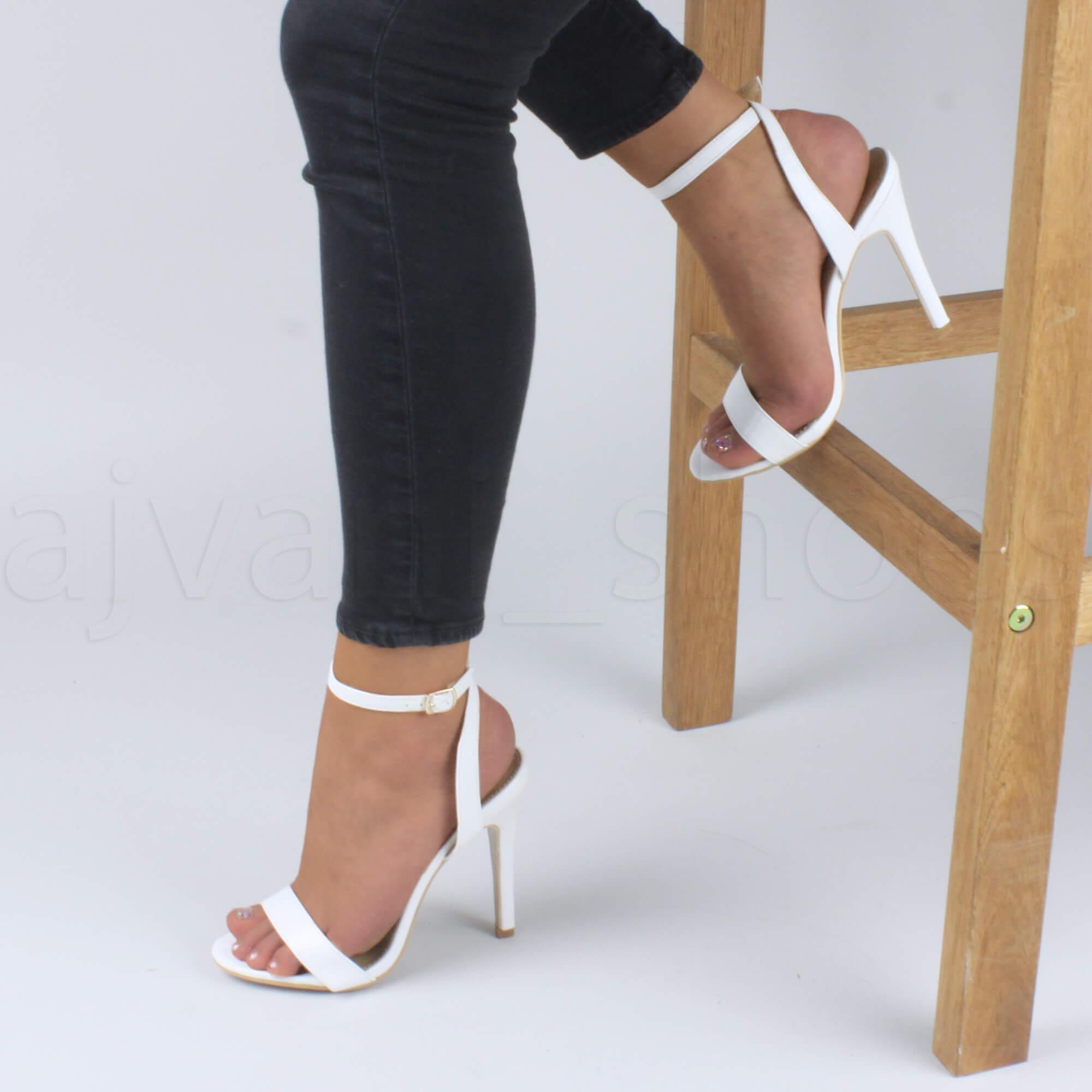 Donna-Alto-Tacco-Partito-Quasi-Li-Fibbia-Con-Cinturino-Sandali-Scarpe-Numero miniatura 14