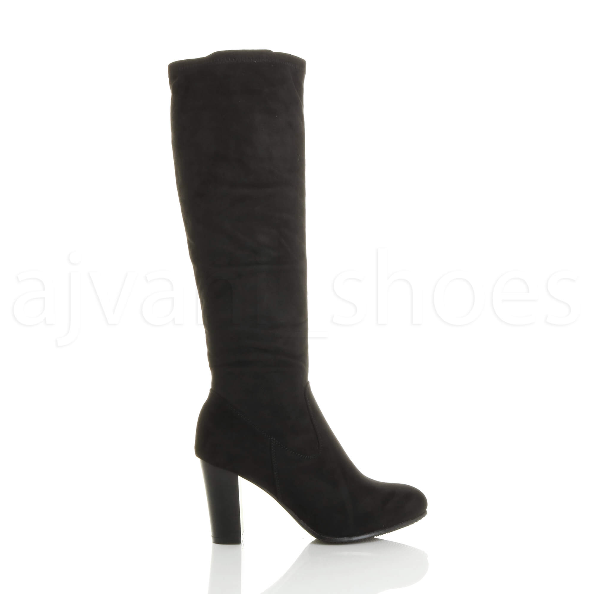 WOMENS-LADIES-HIGH-BLOCK-HEEL-STRETCH-ZIP-SOCK-SMART-RIDING-CALF-KNEE-BOOTS-SIZE