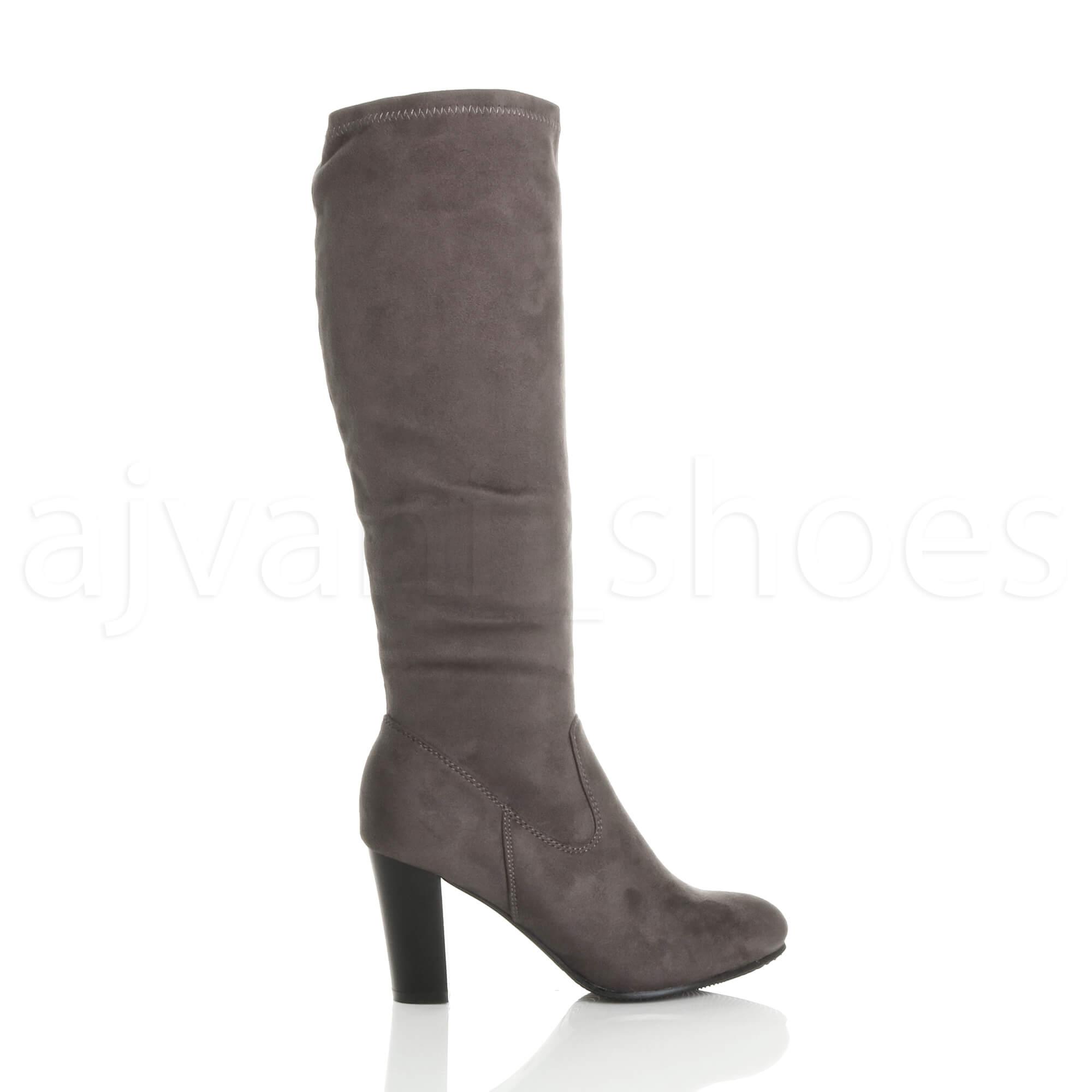 WOMENS-LADIES-HIGH-BLOCK-HEEL-STRETCH-ZIP-SOCK-SMART-RIDING-CALF-KNEE-BOOTS-SIZE