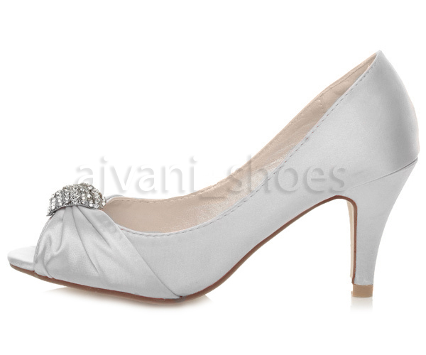 Wedding Kitten Heels: WOMENS LADIES BRIDAL EVENING WEDDING MID KITTEN HEEL