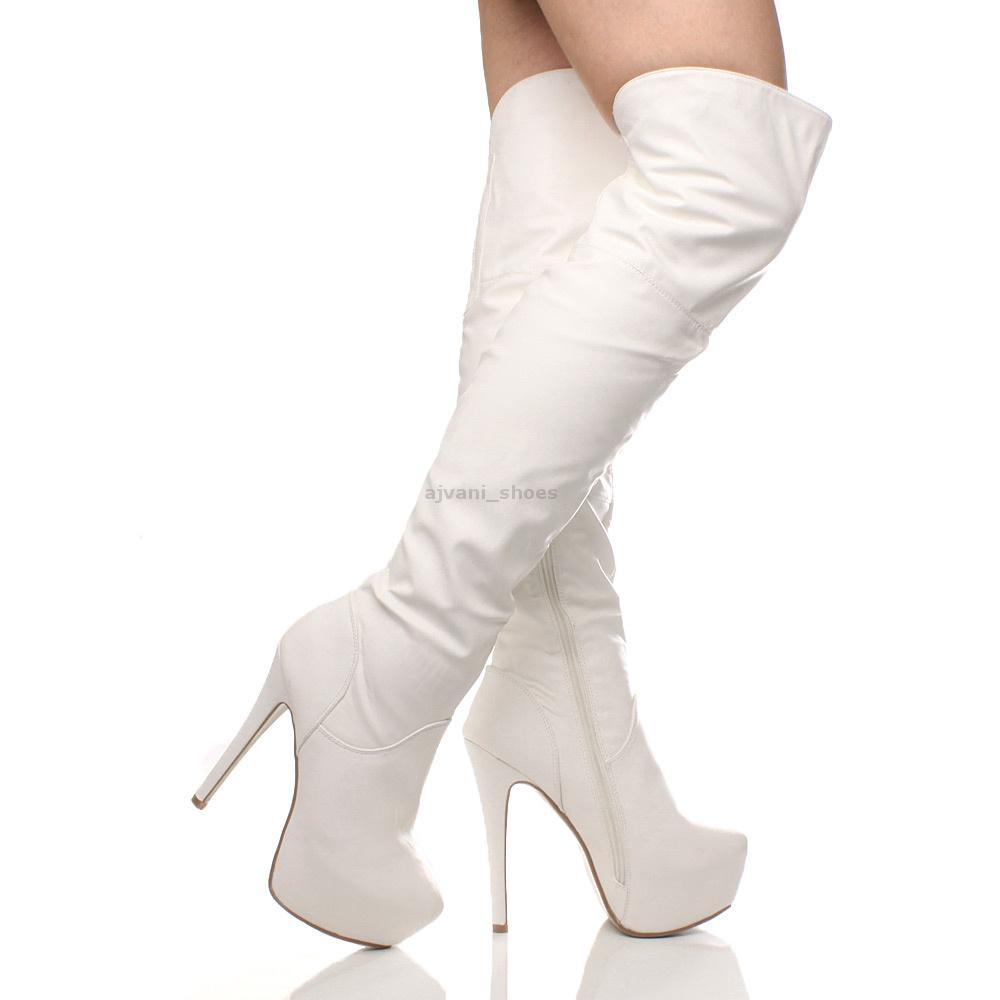56ecfe596e9ca Mujer hombre tacón alto plataforma oculta botas encima rodilla ...