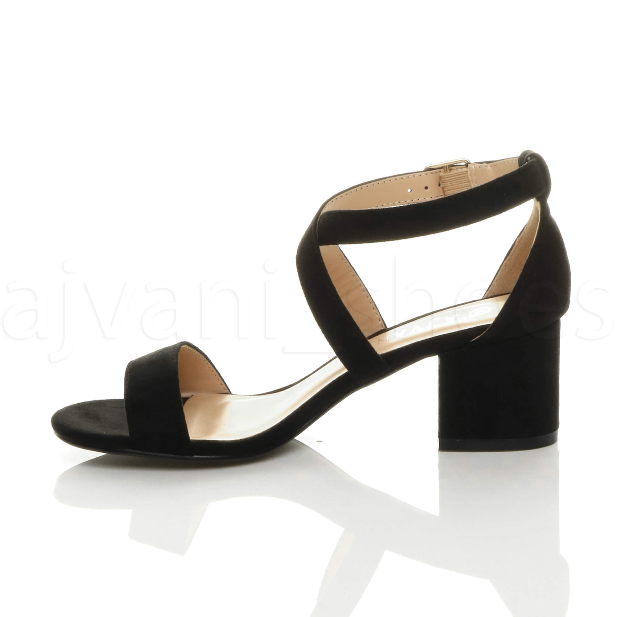 WOMENS-LADIES-MID-LOW-BLOCK-HEEL-CROSS-STRAPS-PARTY-STRAPPY-SANDALS-SHOES-SIZE thumbnail 6