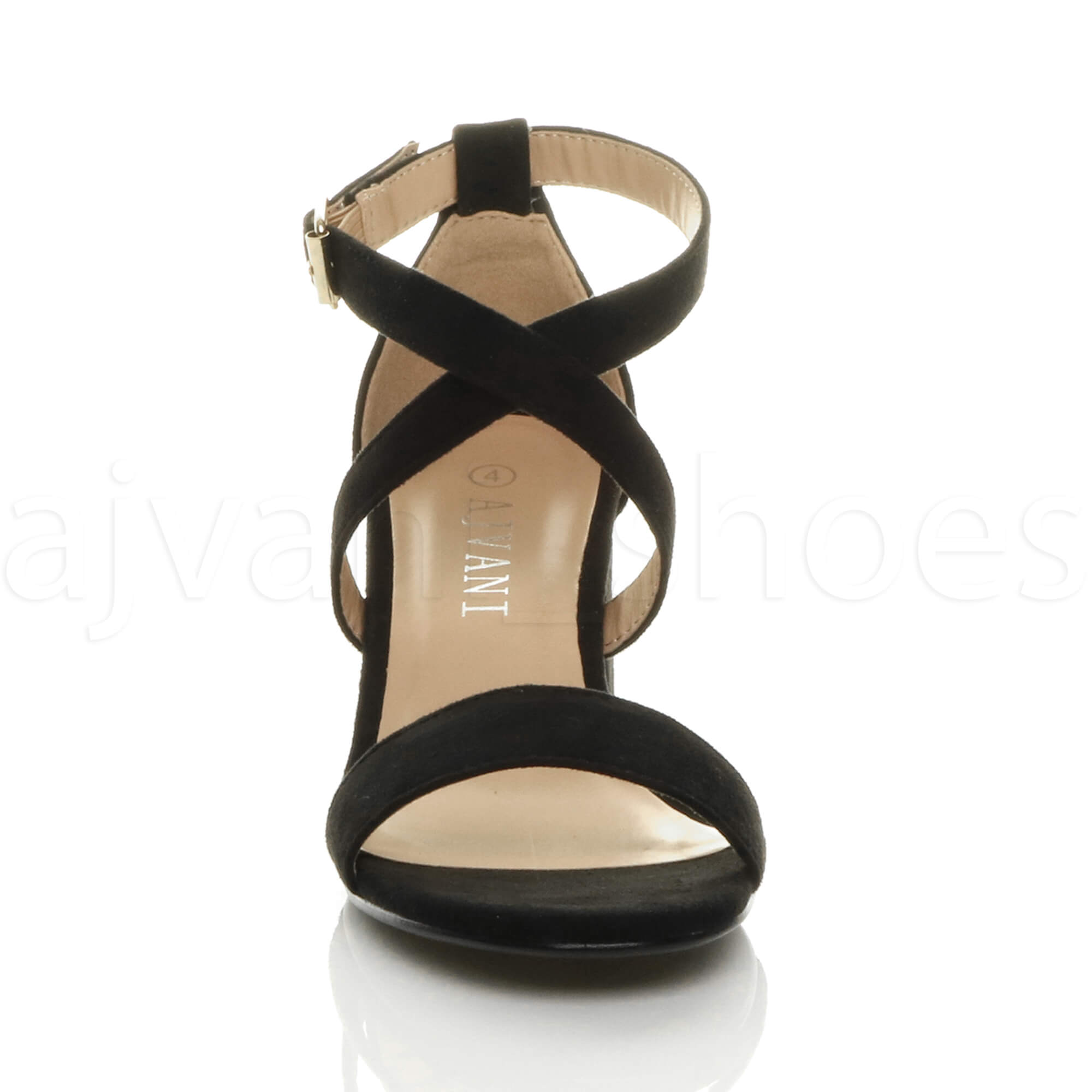 WOMENS-LADIES-MID-LOW-BLOCK-HEEL-CROSS-STRAPS-PARTY-STRAPPY-SANDALS-SHOES-SIZE thumbnail 9