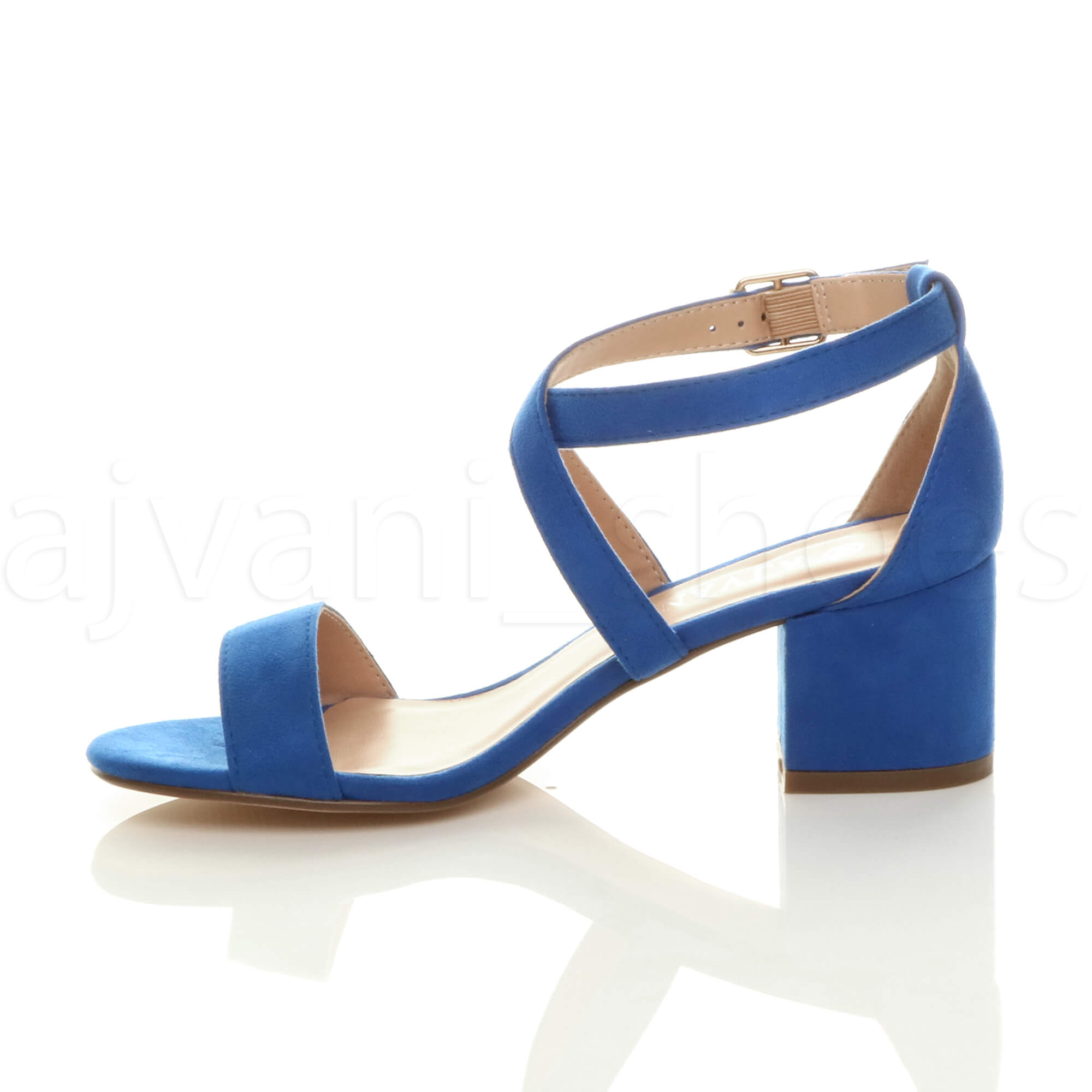 WOMENS-LADIES-MID-LOW-BLOCK-HEEL-CROSS-STRAPS-PARTY-STRAPPY-SANDALS-SHOES-SIZE thumbnail 14