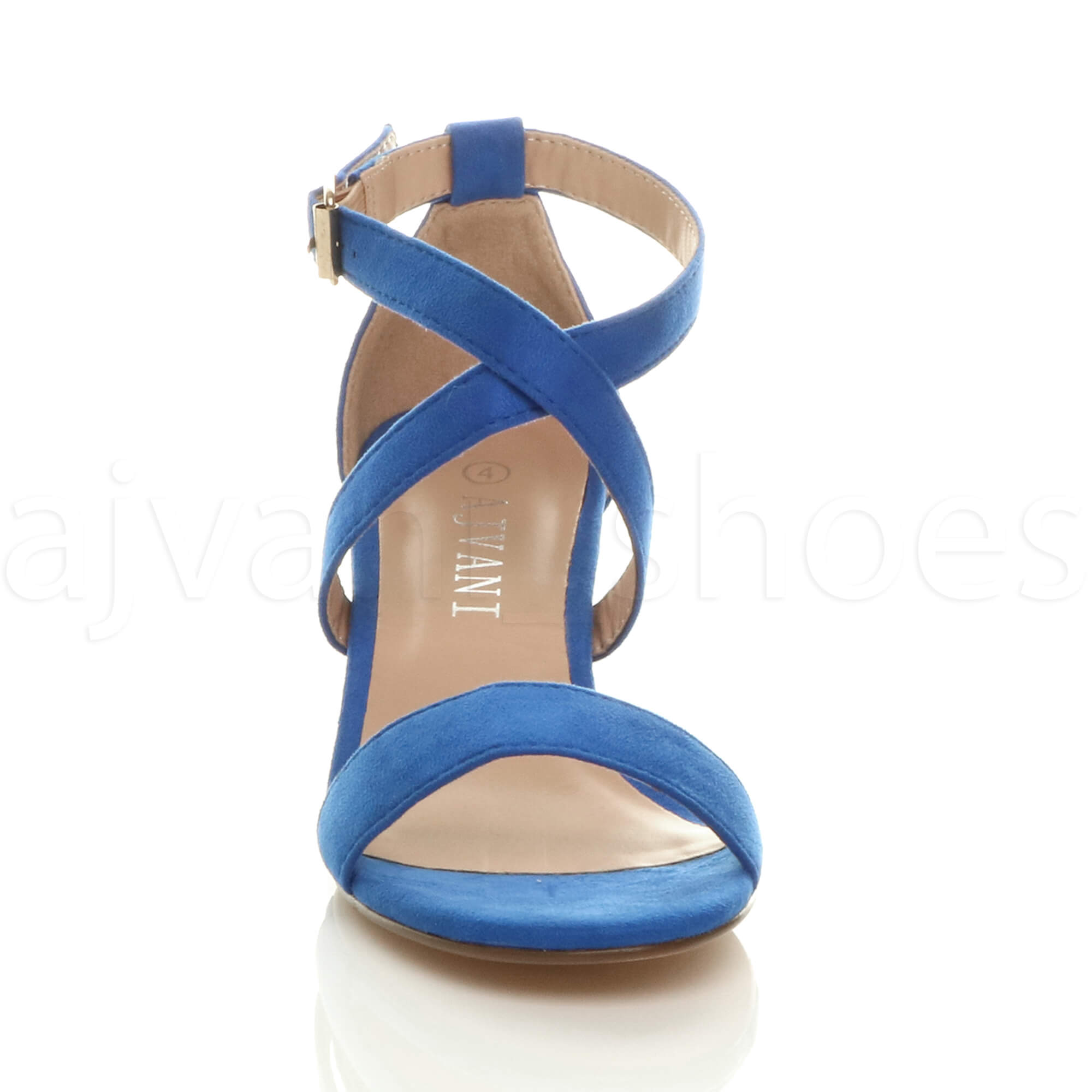 WOMENS-LADIES-MID-LOW-BLOCK-HEEL-CROSS-STRAPS-PARTY-STRAPPY-SANDALS-SHOES-SIZE thumbnail 17