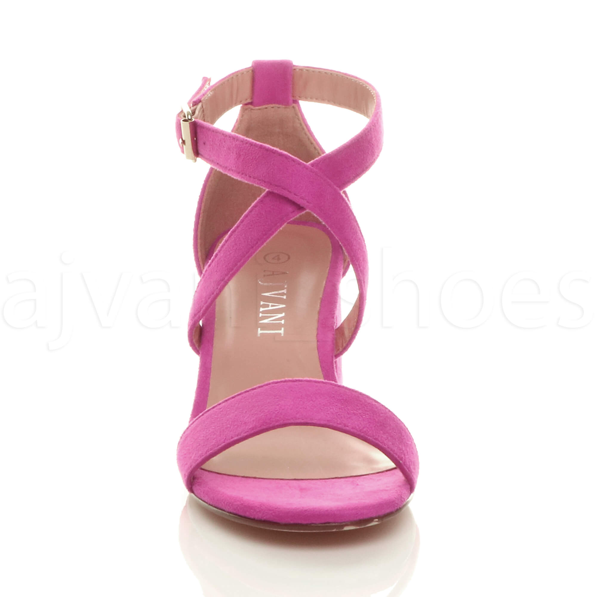 WOMENS-LADIES-MID-LOW-BLOCK-HEEL-CROSS-STRAPS-PARTY-STRAPPY-SANDALS-SHOES-SIZE thumbnail 26