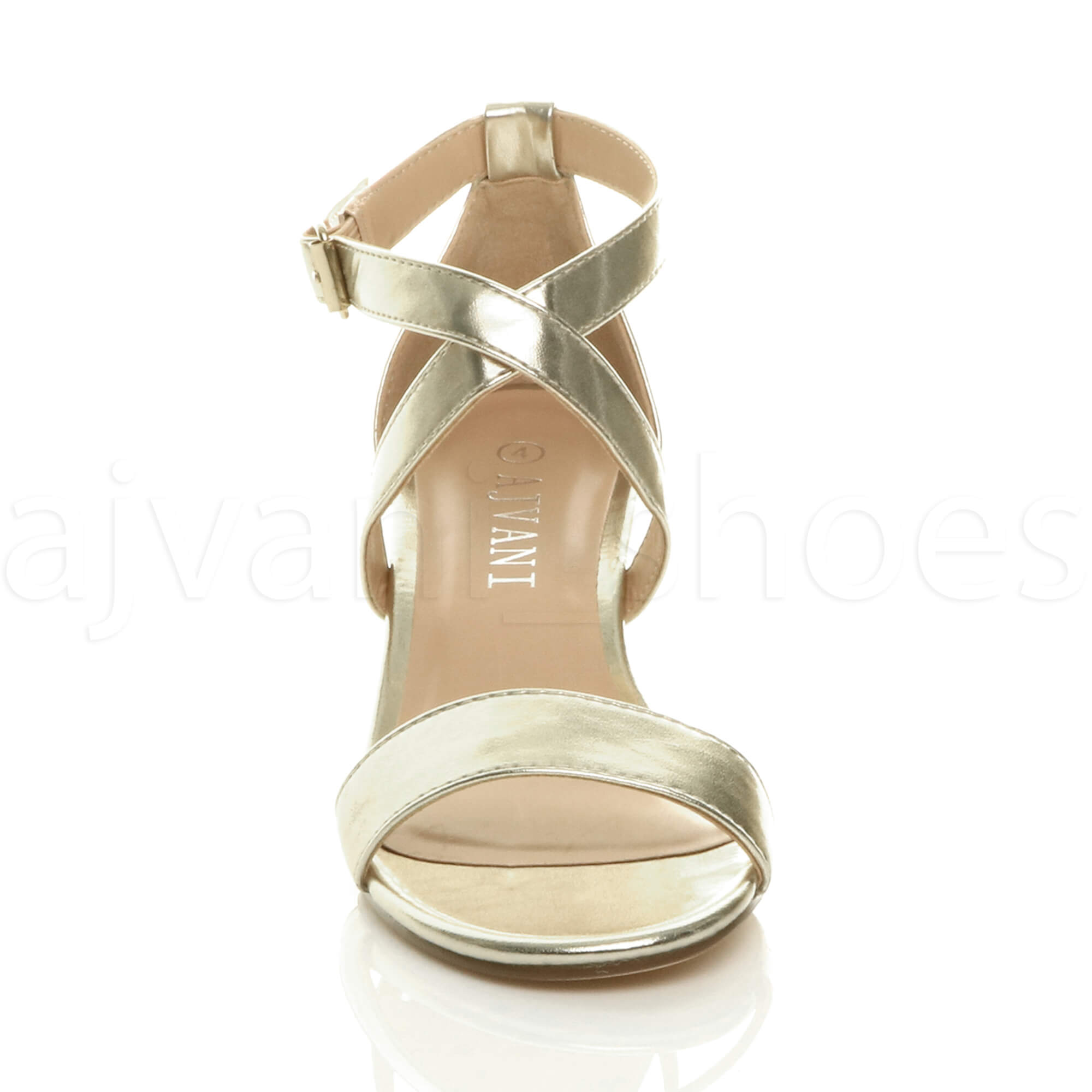 WOMENS-LADIES-MID-LOW-BLOCK-HEEL-CROSS-STRAPS-PARTY-STRAPPY-SANDALS-SHOES-SIZE thumbnail 34
