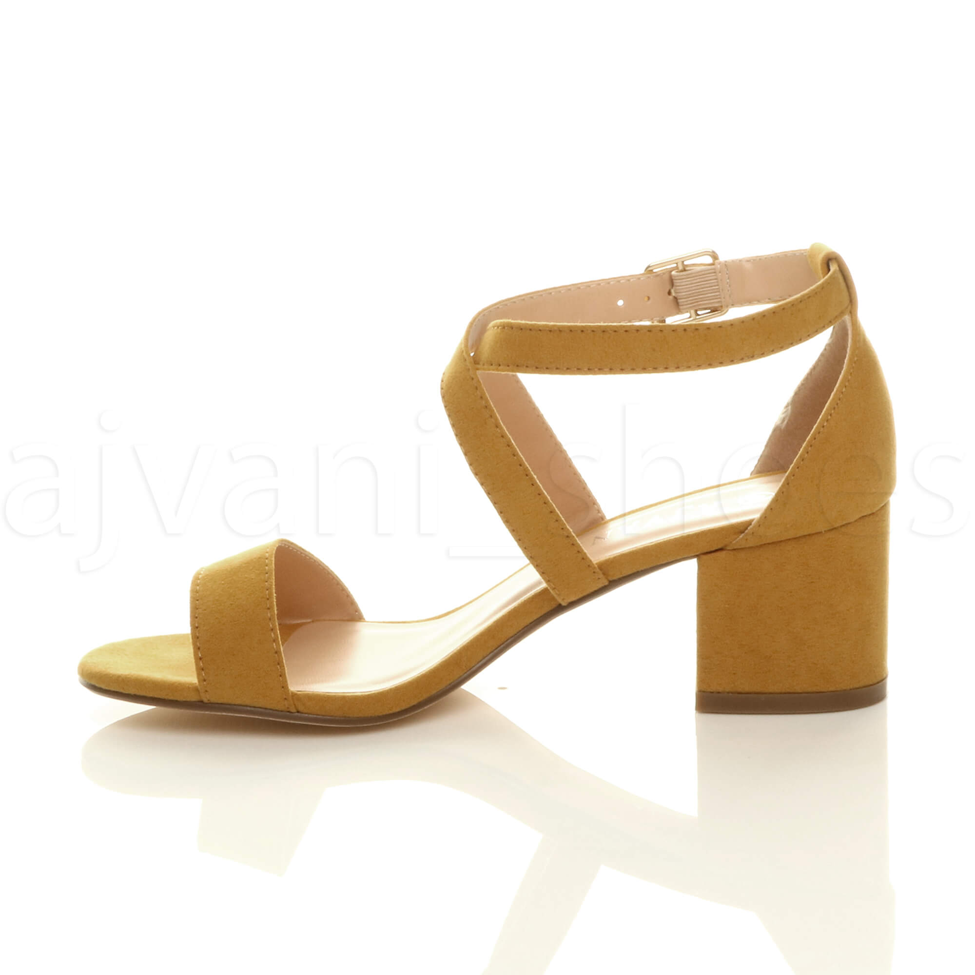 WOMENS-LADIES-MID-LOW-BLOCK-HEEL-CROSS-STRAPS-PARTY-STRAPPY-SANDALS-SHOES-SIZE thumbnail 43