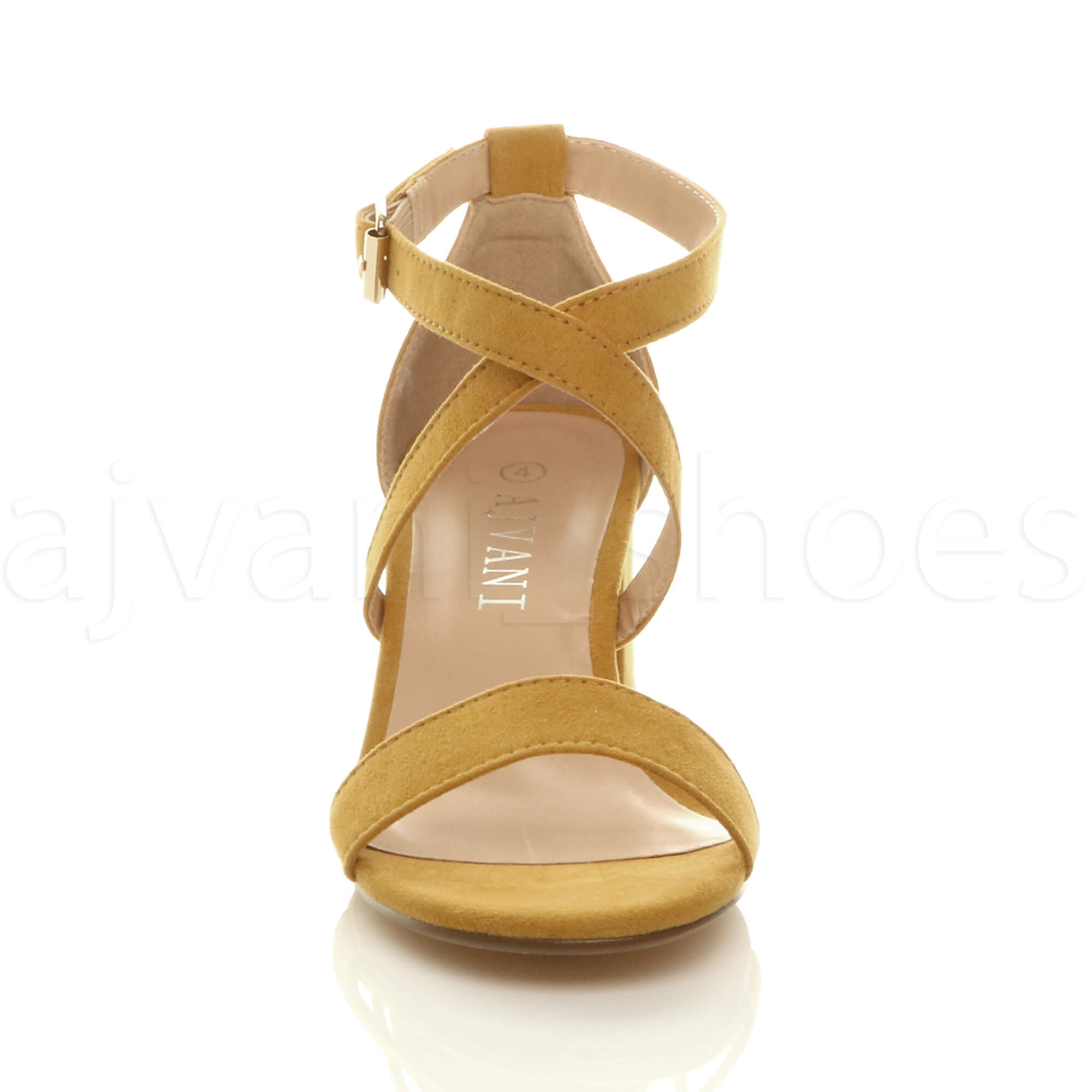 WOMENS-LADIES-MID-LOW-BLOCK-HEEL-CROSS-STRAPS-PARTY-STRAPPY-SANDALS-SHOES-SIZE thumbnail 46