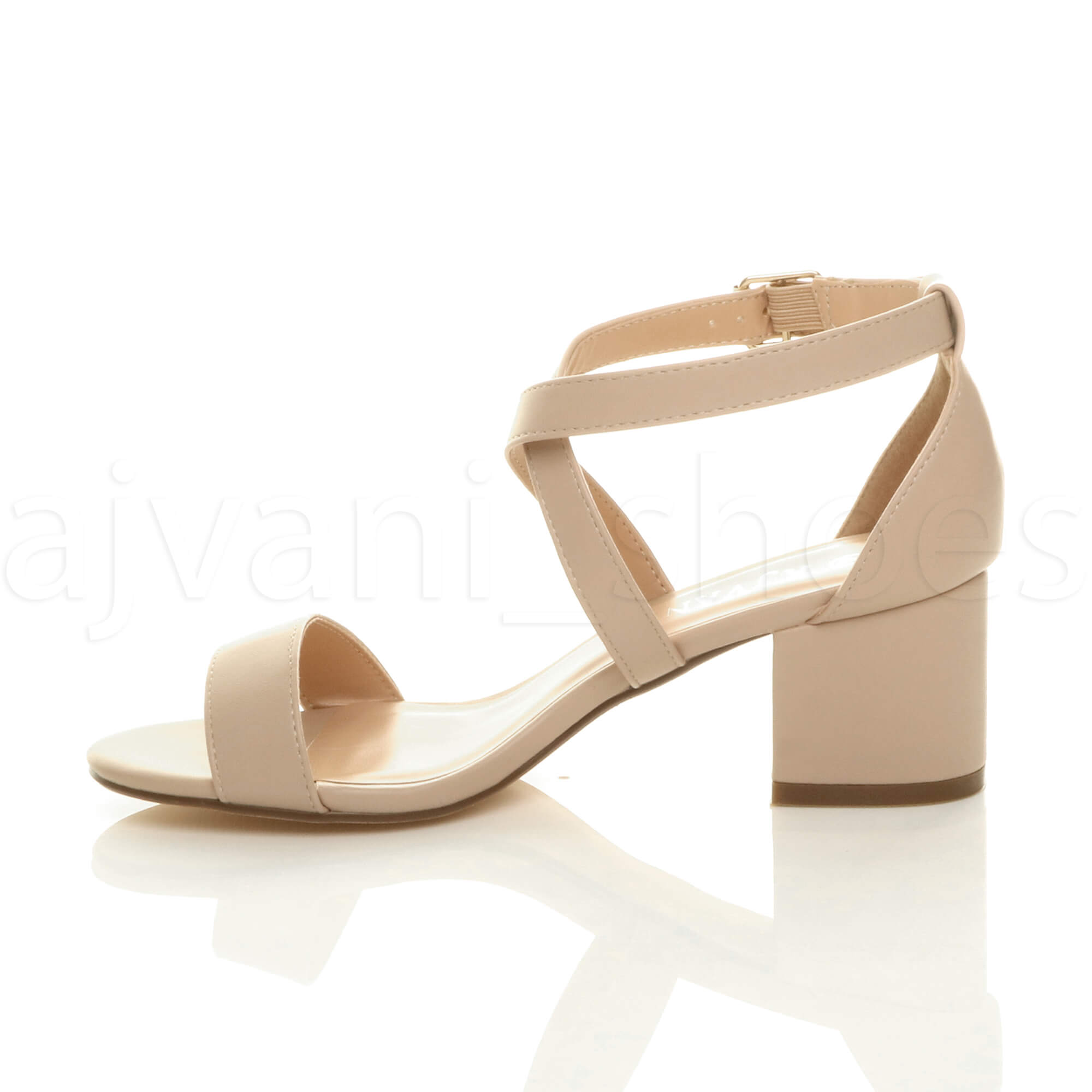 WOMENS-LADIES-MID-LOW-BLOCK-HEEL-CROSS-STRAPS-PARTY-STRAPPY-SANDALS-SHOES-SIZE thumbnail 53