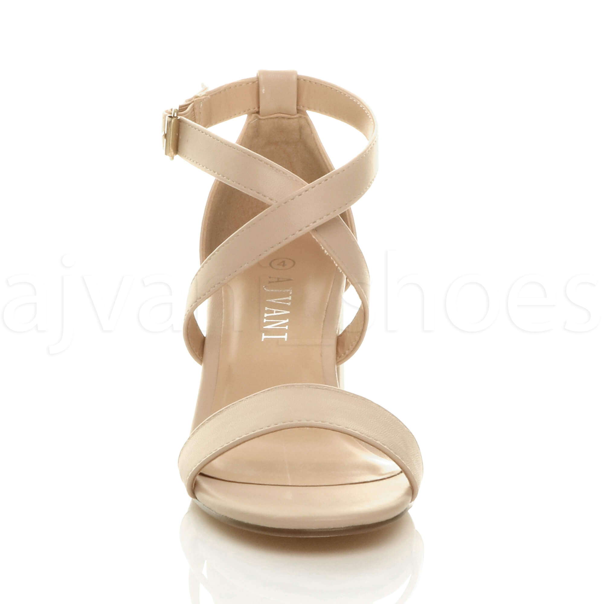 WOMENS-LADIES-MID-LOW-BLOCK-HEEL-CROSS-STRAPS-PARTY-STRAPPY-SANDALS-SHOES-SIZE thumbnail 56