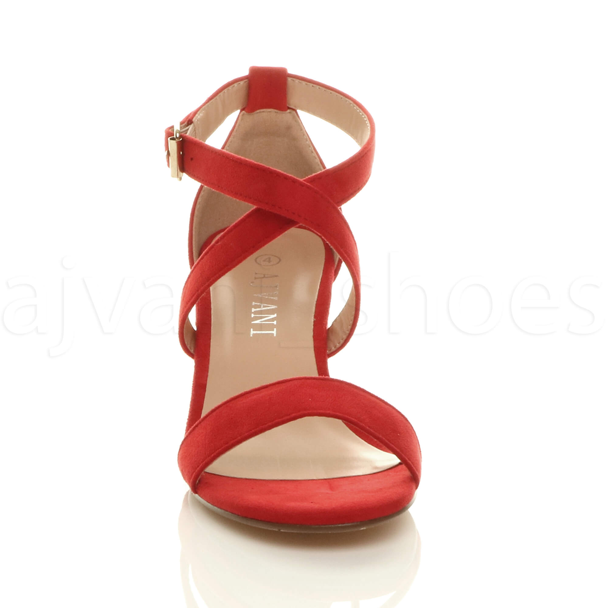 WOMENS-LADIES-MID-LOW-BLOCK-HEEL-CROSS-STRAPS-PARTY-STRAPPY-SANDALS-SHOES-SIZE thumbnail 66