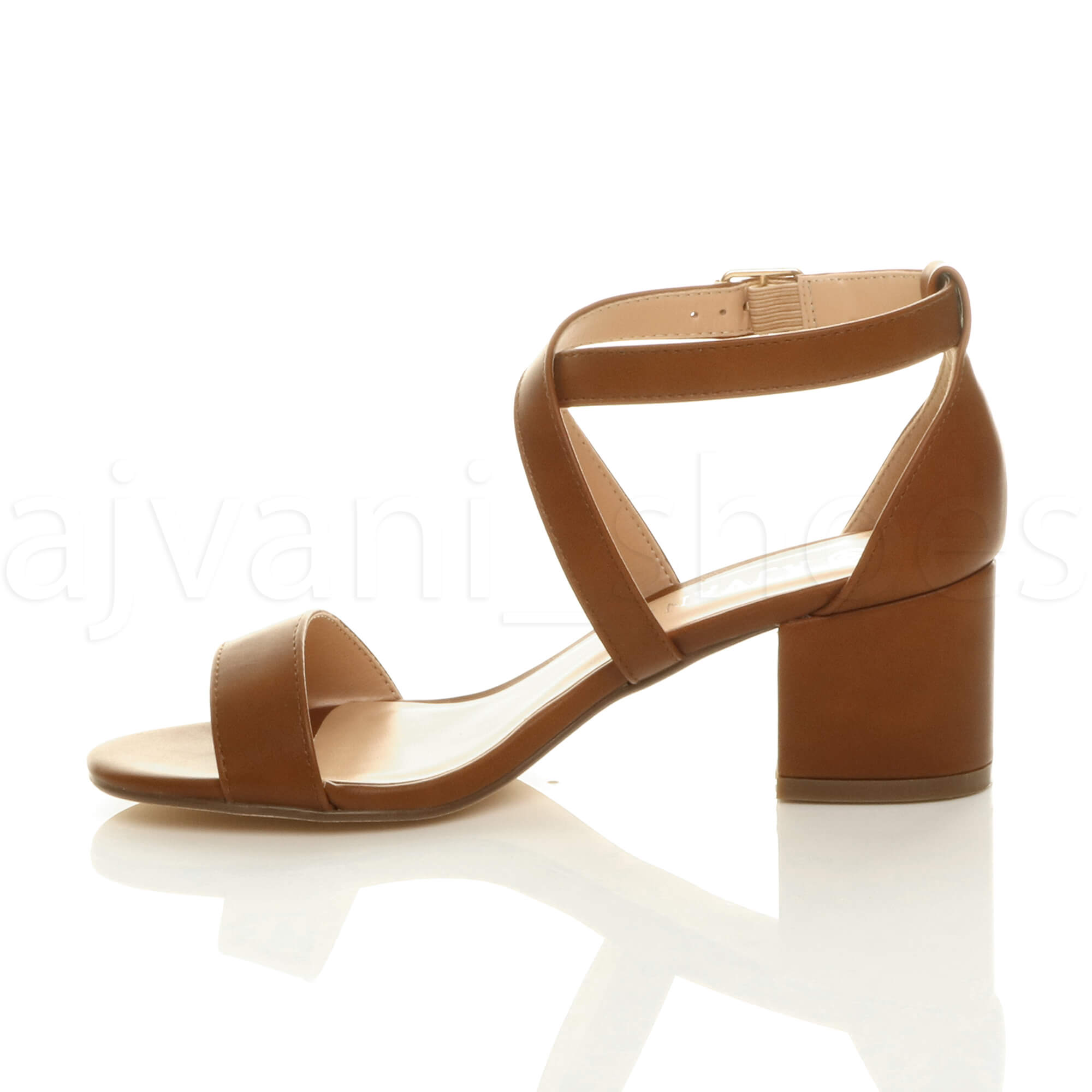 WOMENS-LADIES-MID-LOW-BLOCK-HEEL-CROSS-STRAPS-PARTY-STRAPPY-SANDALS-SHOES-SIZE thumbnail 91