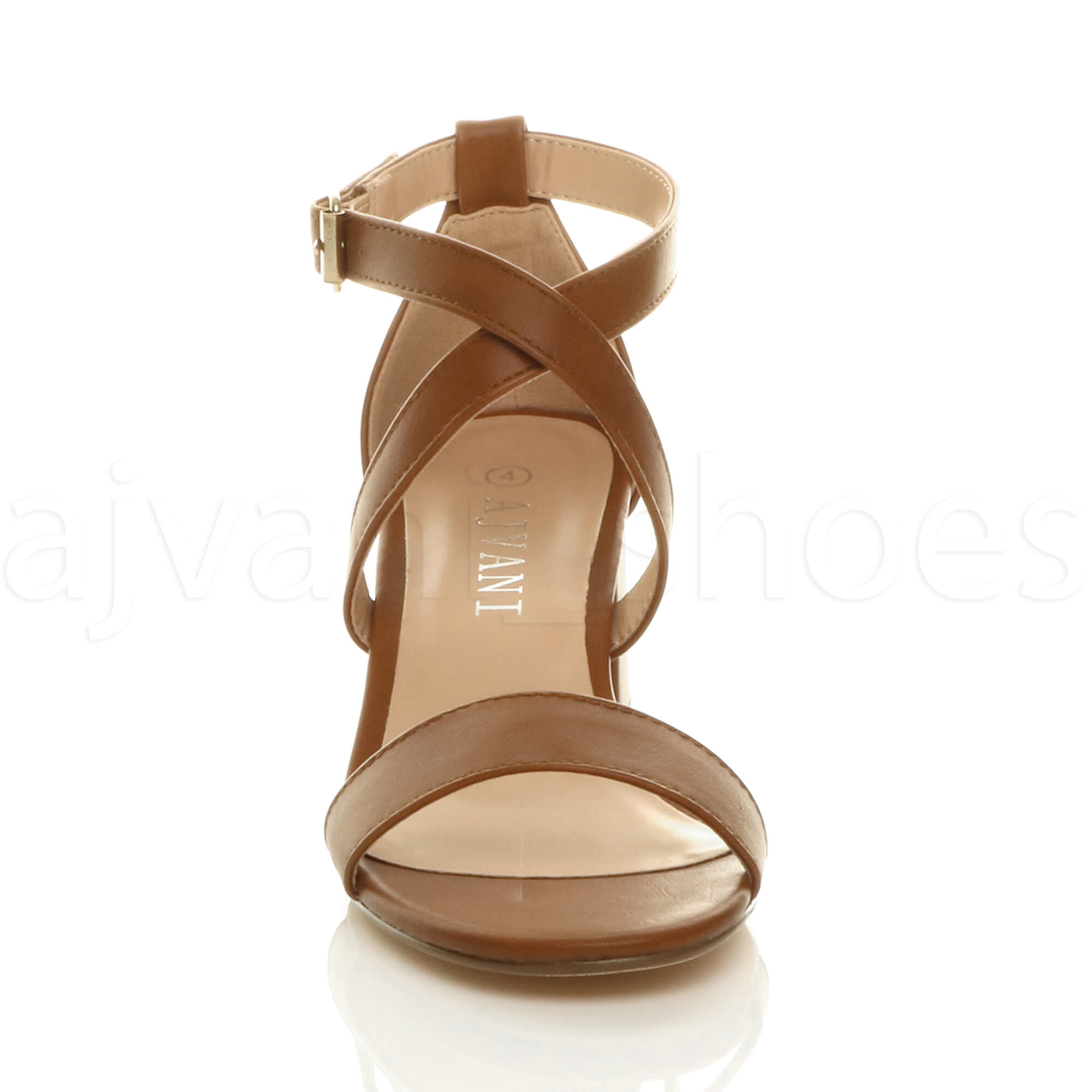 WOMENS-LADIES-MID-LOW-BLOCK-HEEL-CROSS-STRAPS-PARTY-STRAPPY-SANDALS-SHOES-SIZE thumbnail 94