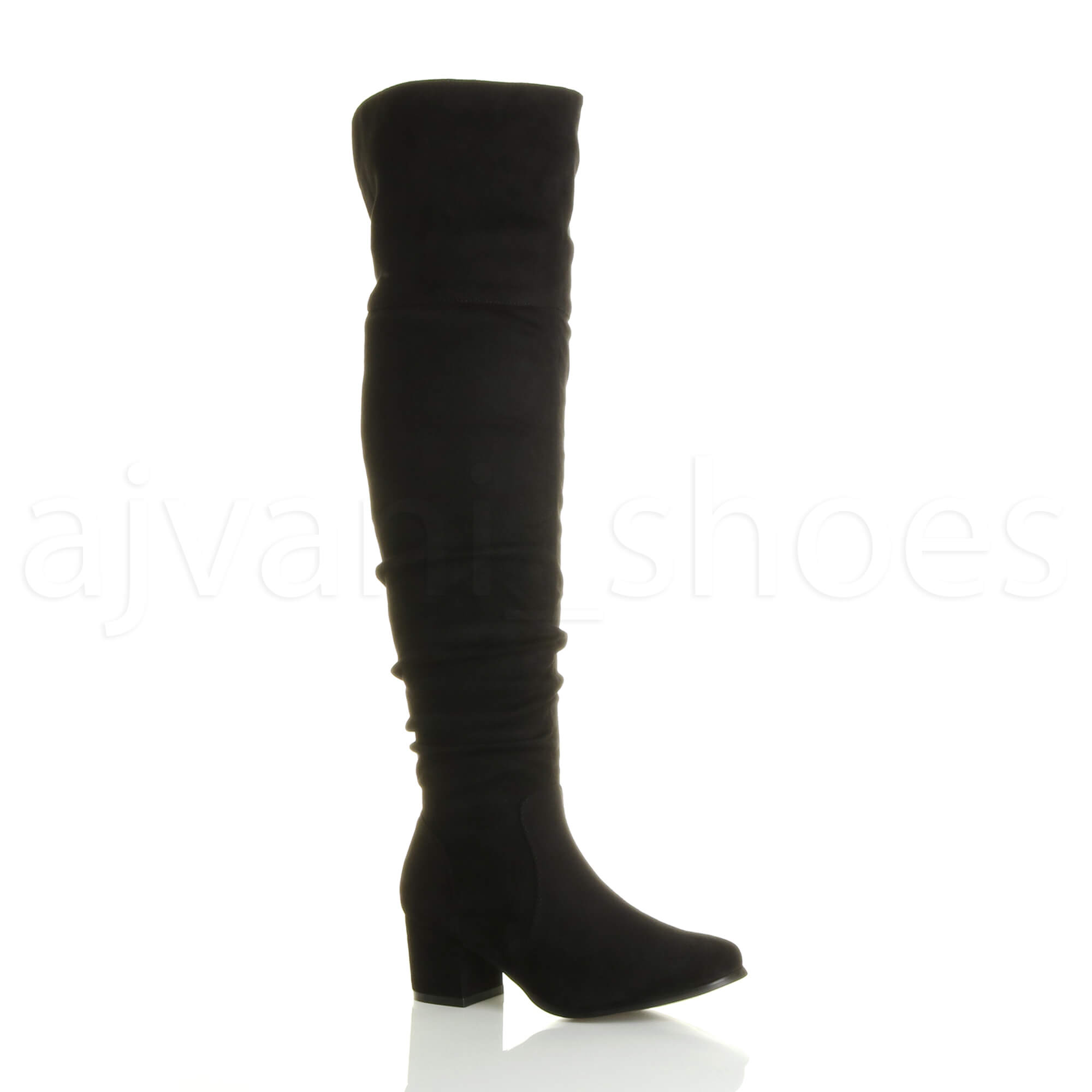 WOMENS-LADIES-LOW-MID-BLOCK-HEEL-THIGH-HIGH-ZIP-RUCHED-OVER-THE-KNEE-BOOTS-SIZE