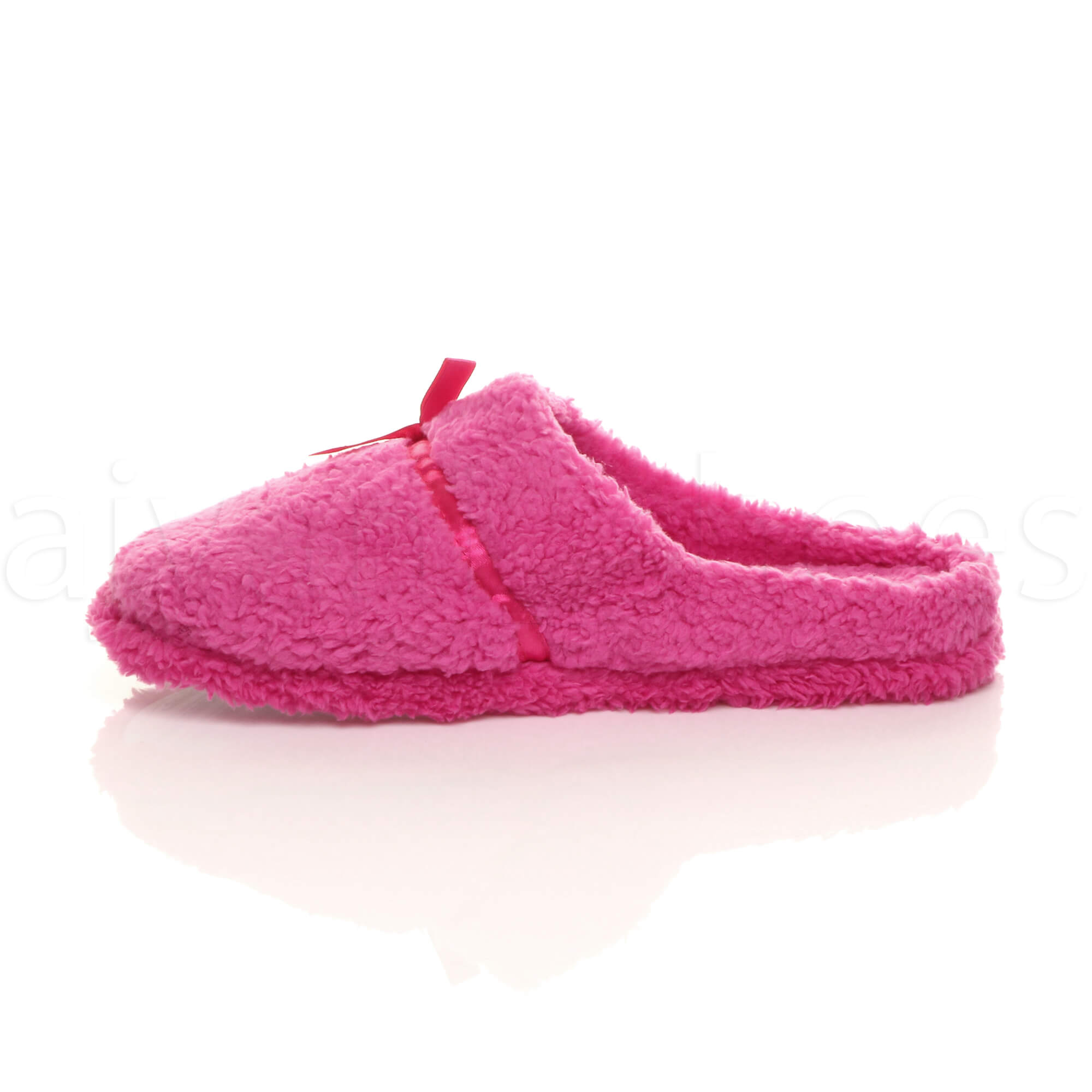 WOMENS-LADIES-BOW-HEART-GEM-WINTER-FLEECE-FUR-SLIPPERS-SLIP-ON-MULES-SIZE