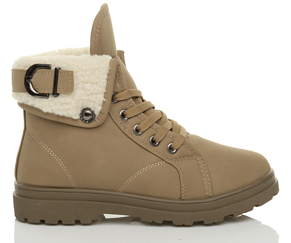 WOMENS-LADIES-FUR-LINING-CUFF-FLAT-WALKING-LACE-UP-BIKER-ANKLE-SHOES-BOOTS-SIZE