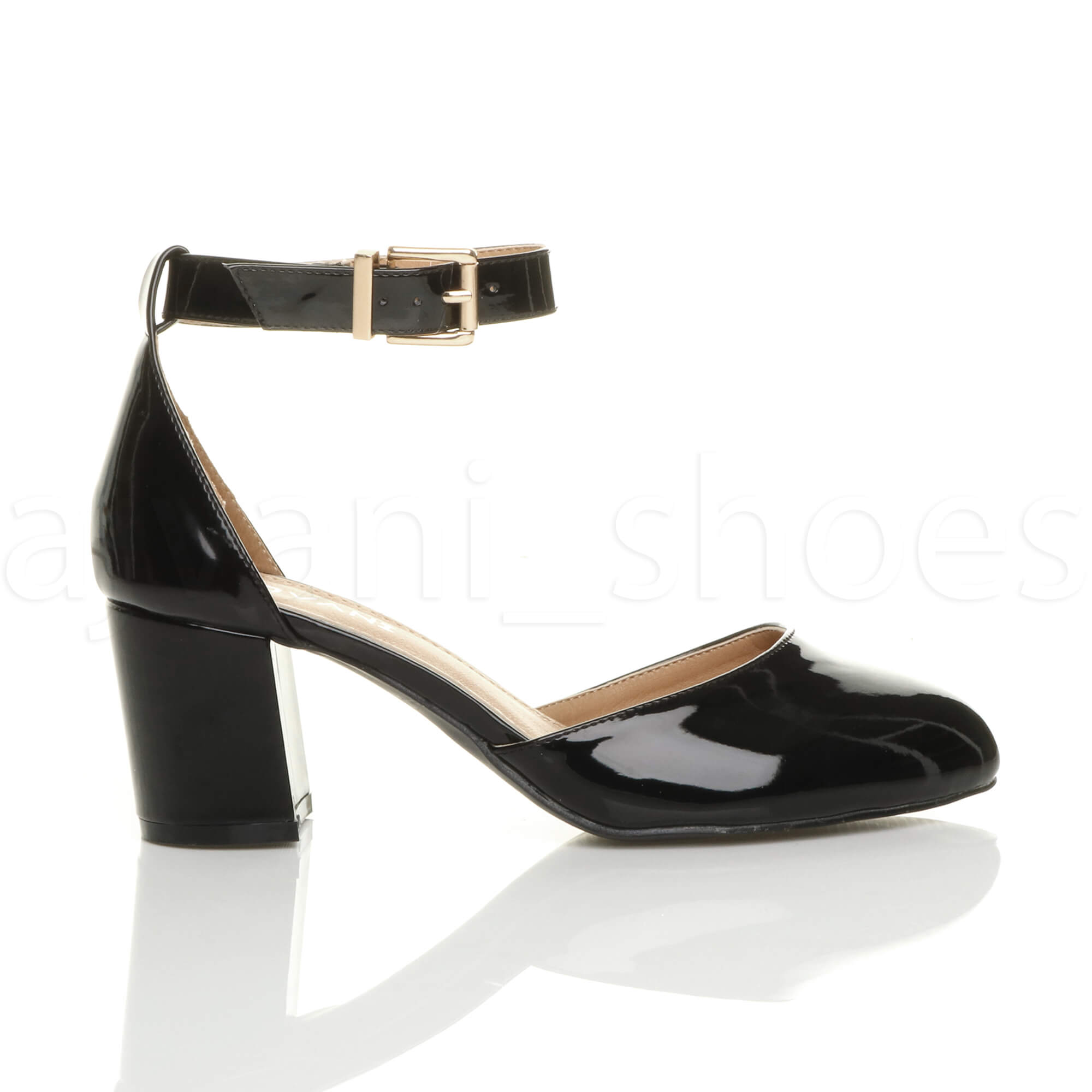 Black Patent Court Shoes With Strap
