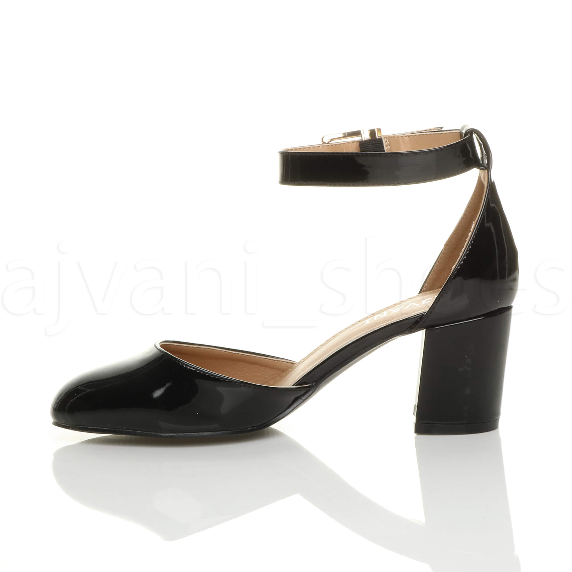 WOMENS-LADIES-LOW-MID-BLOCK-HEEL-ANKLE-STRAP-MARY-JANE-COURT-SHOES-SANDALS-SIZE thumbnail 12