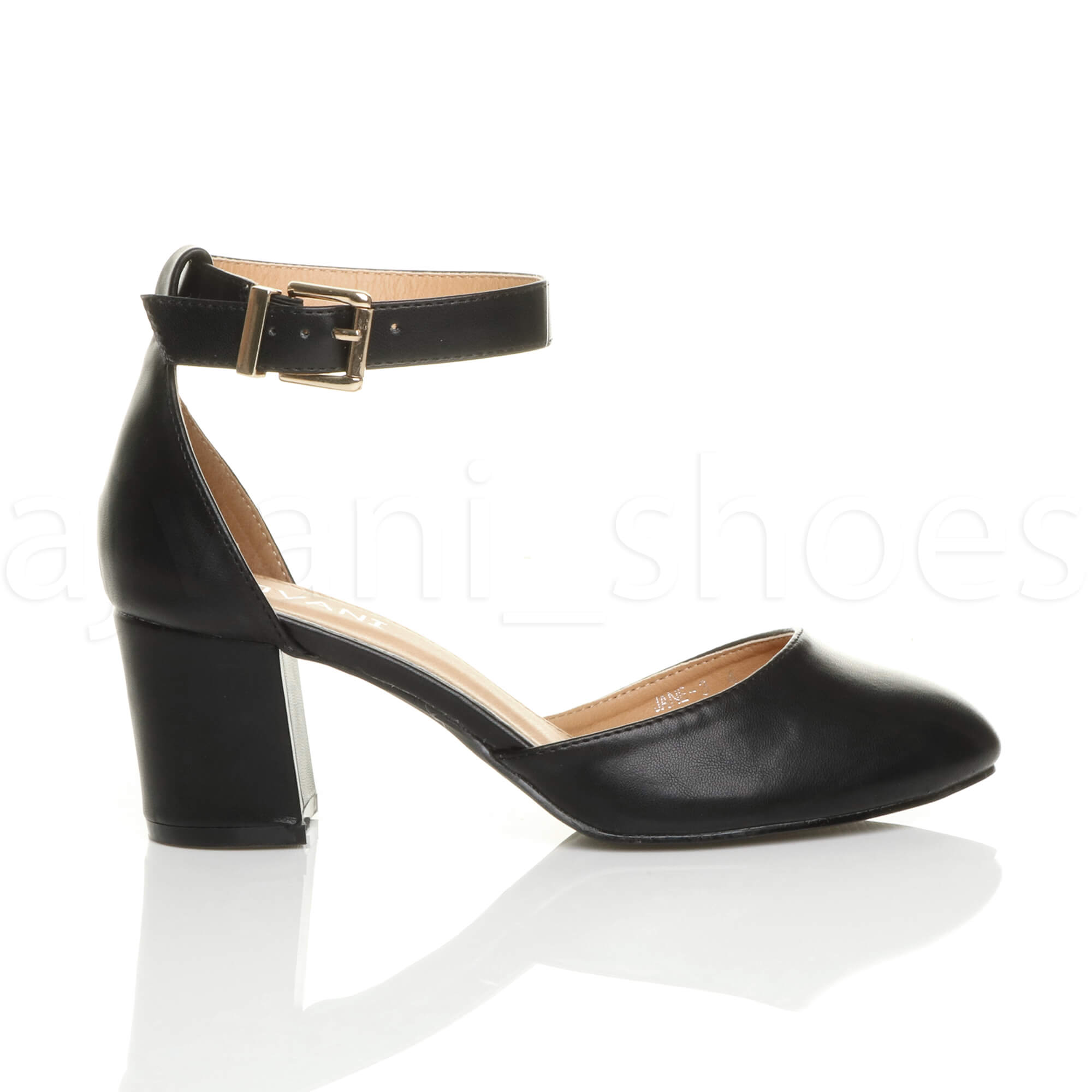 WOMENS-LADIES-LOW-MID-BLOCK-HEEL-ANKLE-STRAP-MARY-JANE-COURT-SHOES-SANDALS-SIZE thumbnail 3