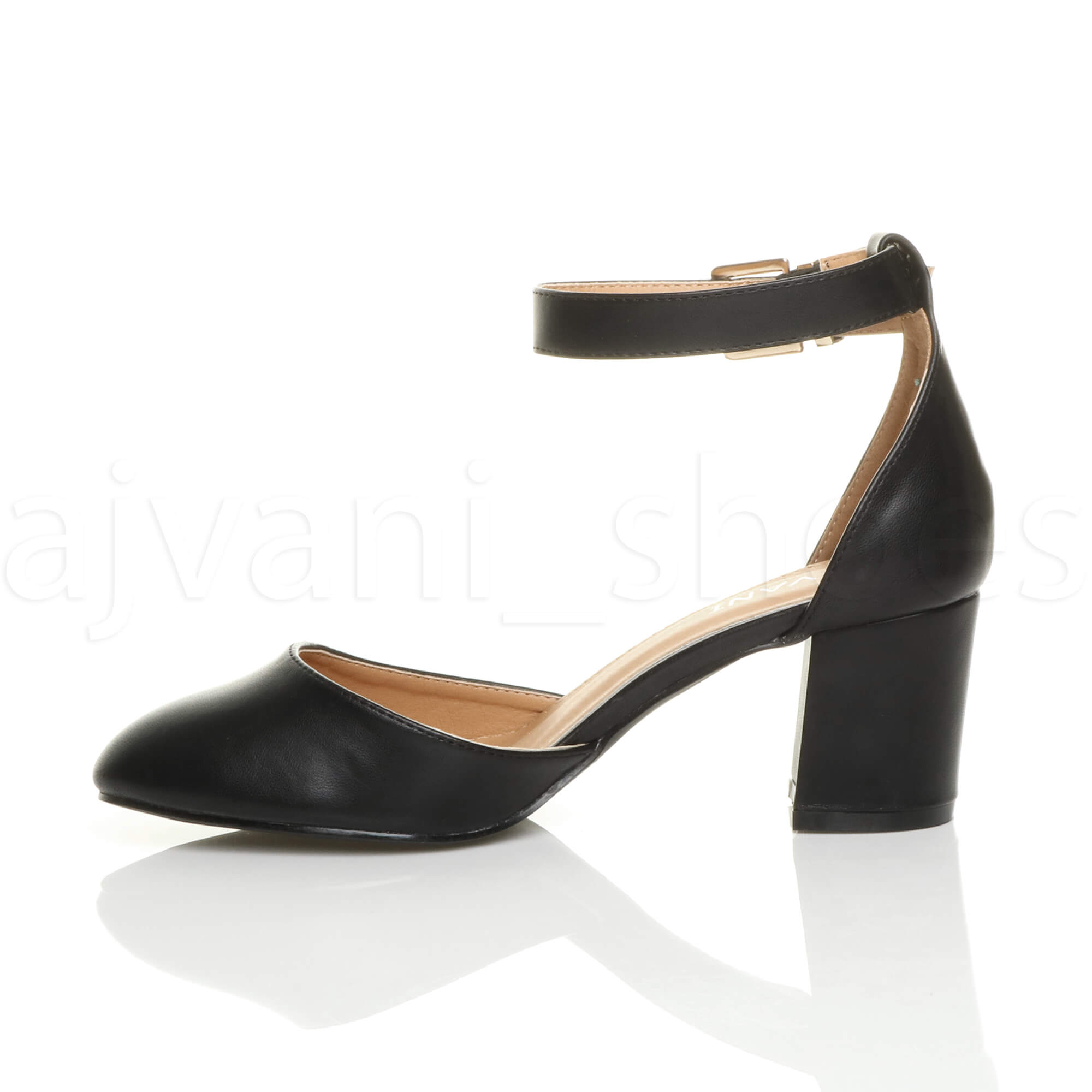 WOMENS-LADIES-LOW-MID-BLOCK-HEEL-ANKLE-STRAP-MARY-JANE-COURT-SHOES-SANDALS-SIZE thumbnail 4