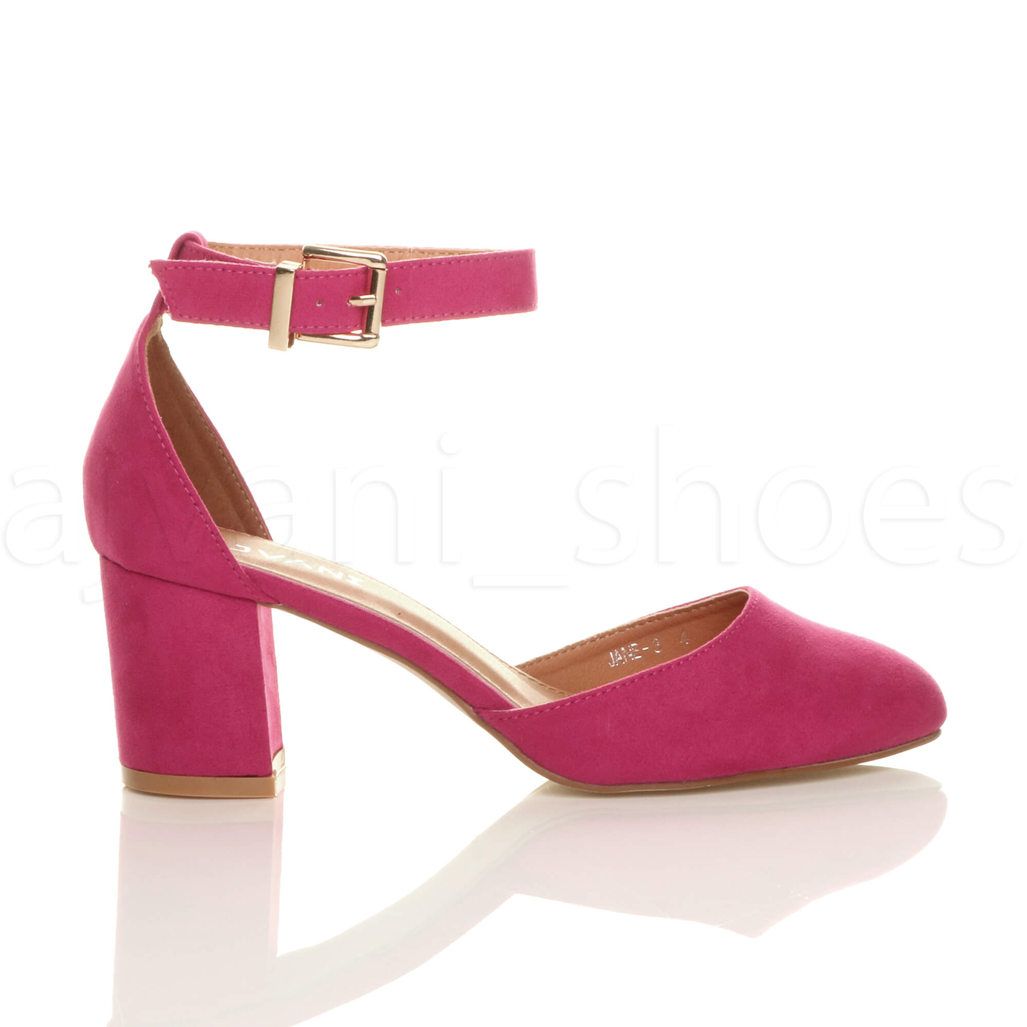WOMENS-LADIES-LOW-MID-BLOCK-HEEL-ANKLE-STRAP-MARY-JANE-COURT-SHOES-SANDALS-SIZE thumbnail 43