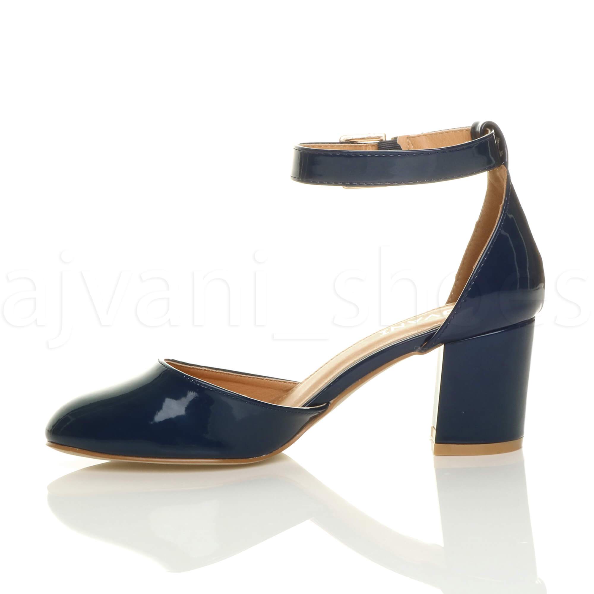 WOMENS-LADIES-LOW-MID-BLOCK-HEEL-ANKLE-STRAP-MARY-JANE-COURT-SHOES-SANDALS-SIZE thumbnail 100