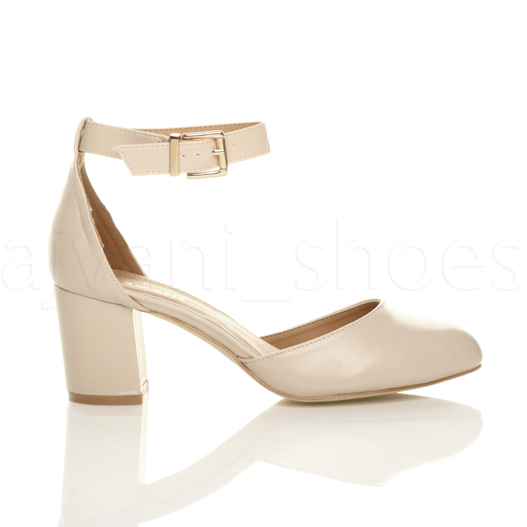 WOMENS-LADIES-LOW-MID-BLOCK-HEEL-ANKLE-STRAP-MARY-JANE-COURT-SHOES-SANDALS-SIZE thumbnail 107