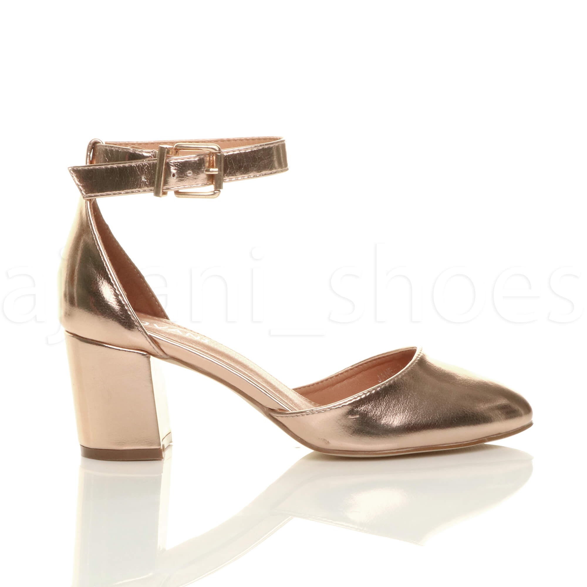 WOMENS-LADIES-LOW-MID-BLOCK-HEEL-ANKLE-STRAP-MARY-JANE-COURT-SHOES-SANDALS-SIZE thumbnail 147