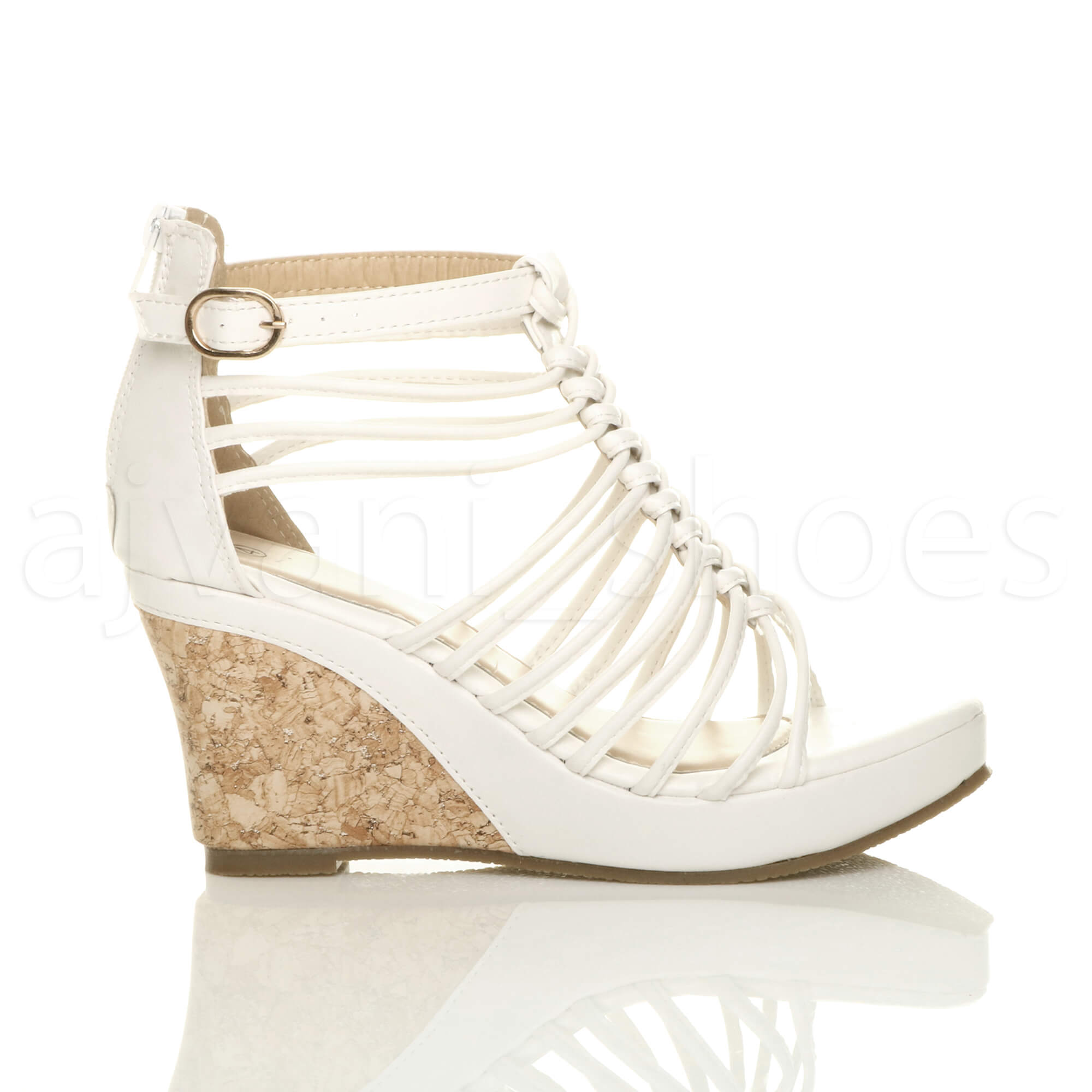 WOMENS LADIES STRAPPY GLADIATOR PLATFORM SUMMER HIGH HEEL ...