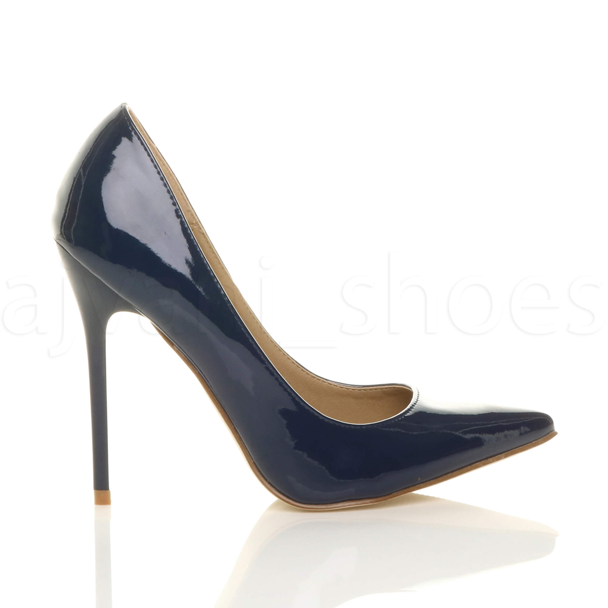WOMENS-LADIES-HIGH-HEEL-POINTED-CONTRAST-COURT-SMART-PARTY-WORK-SHOES-PUMPS-SIZE thumbnail 97