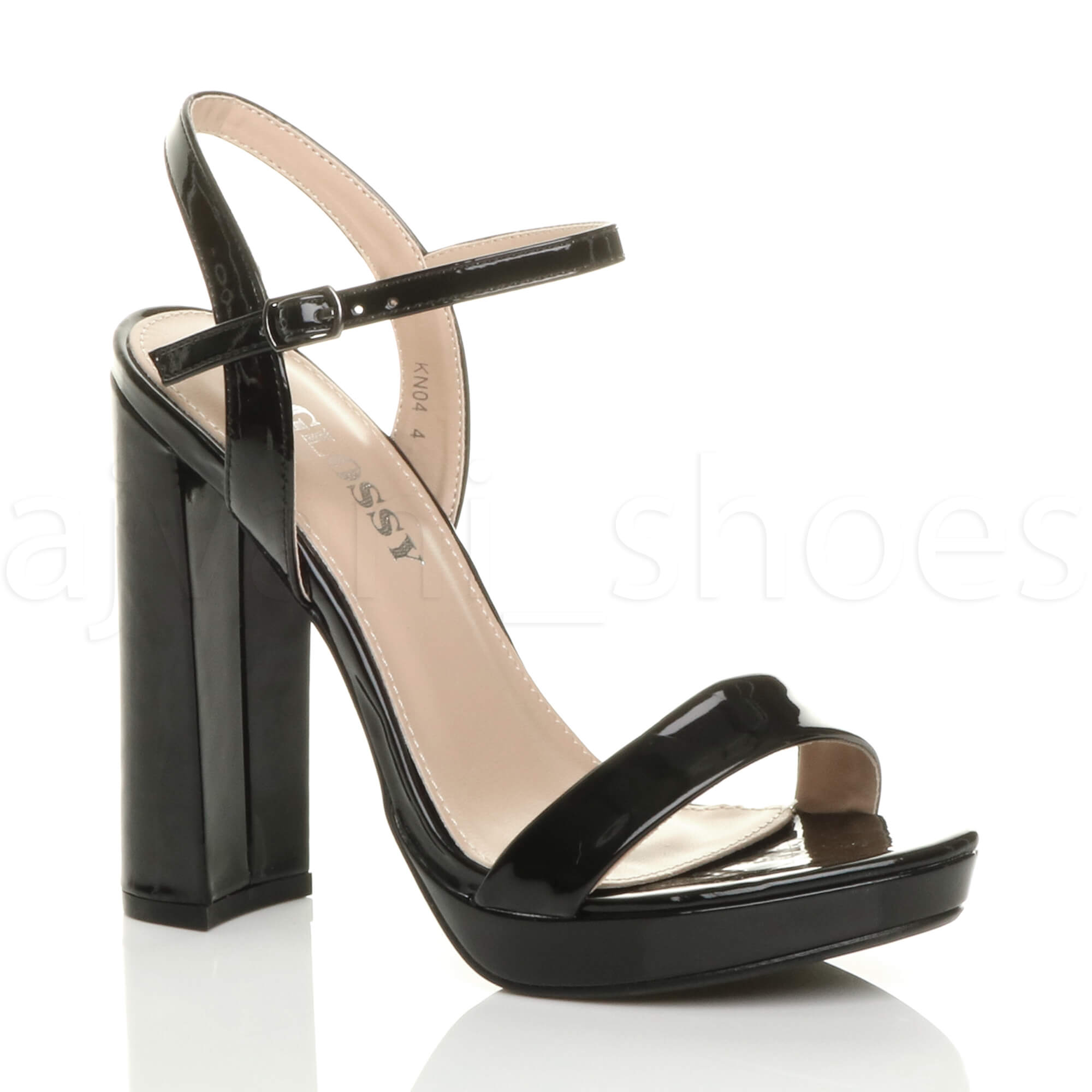7b120bb6e5b1 Details about WOMENS LADIES HIGH BLOCK HEEL ANKLE STRAP PLATFORM BARELY  THERE SANDALS SIZE