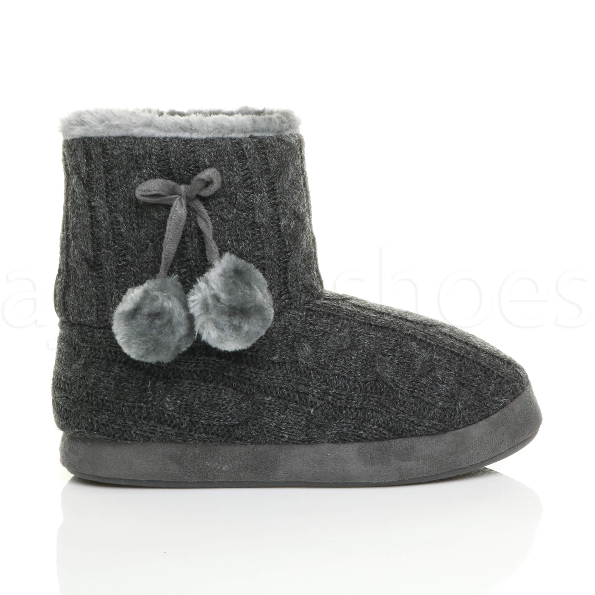 WOMENS-LADIES-WINTER-POM-POM-FUR-LINED-COMFORT-KNITTED-ANKLE-SLIPPER-BOOTS-SIZE