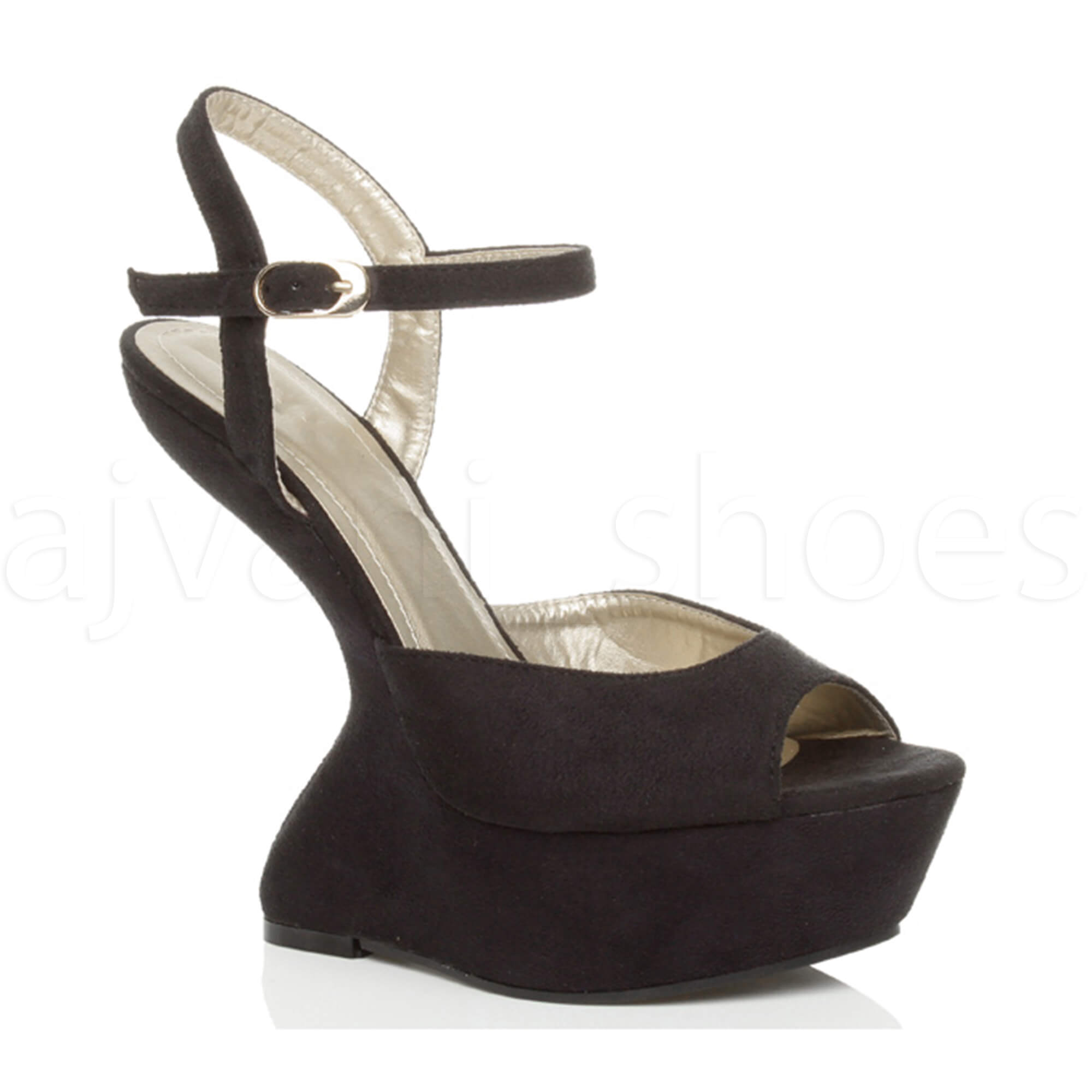 999d8059ed0 ... Ladies High Heel Less Cut out Platform Halloween Costume Party Shoes  Size UK 4   EU 37   US 6 Style H Black. About this product. Picture 1 of 6   Picture ...