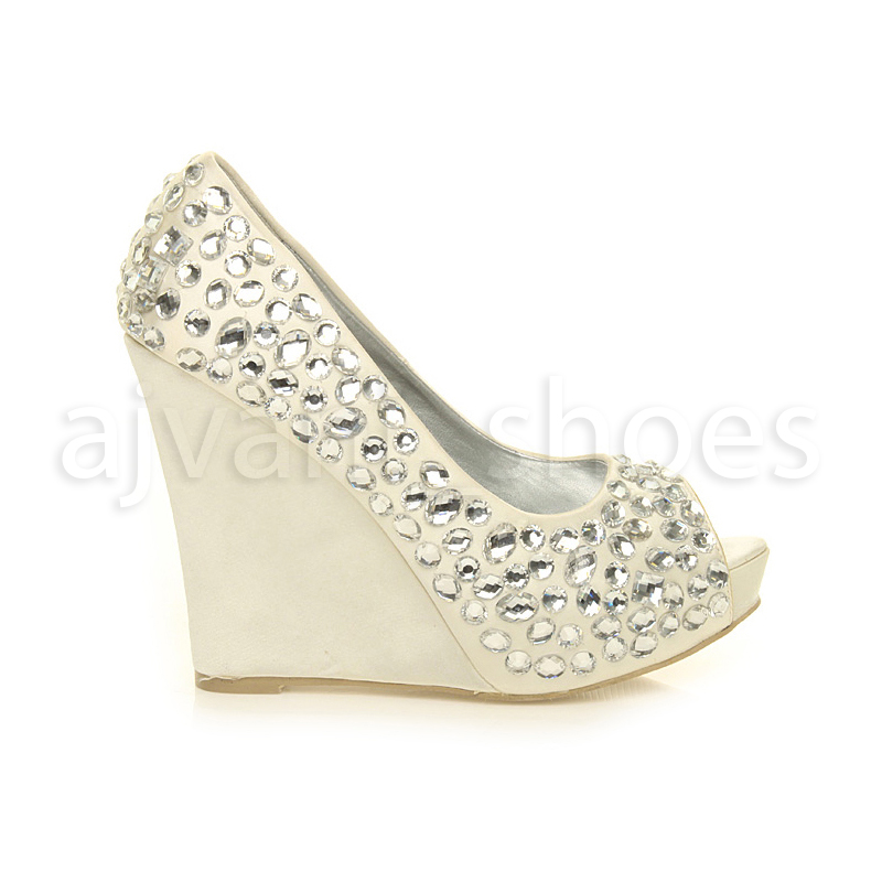 5a2294fbe LYDC London DESIGNER L27 Ivory Satin Bling Wedding Platform Wedge Shoes Sz  7. About this product. Picture 1 of 6  Picture 2 of 6  Picture 3 of 6 ...