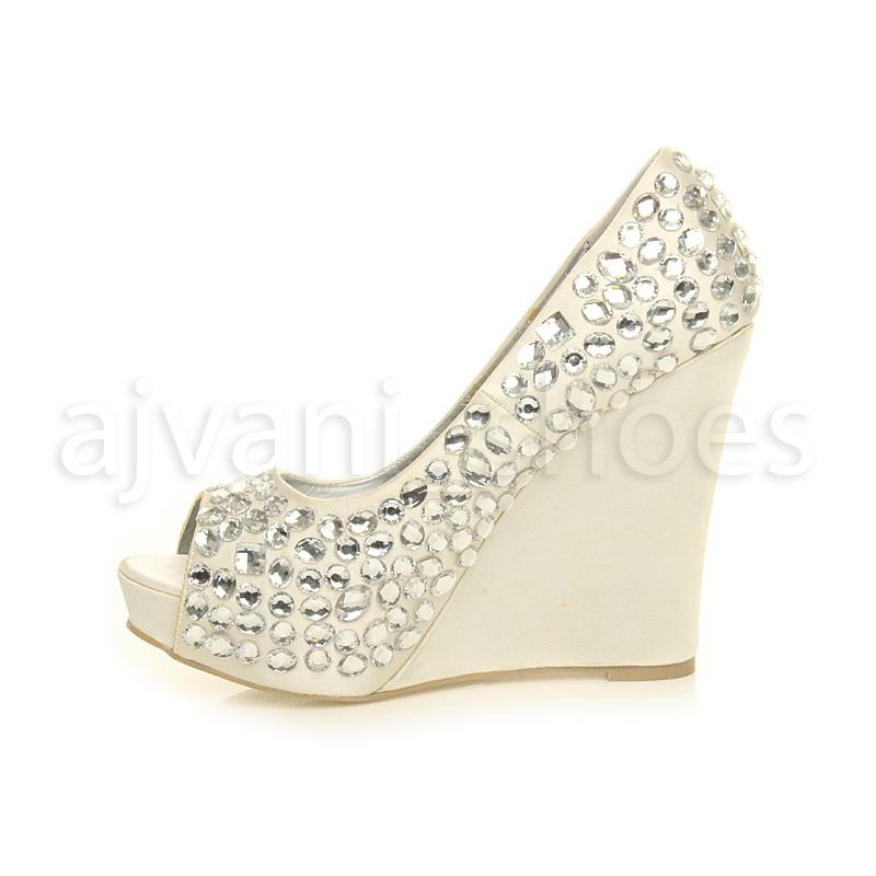 8b600a8a5 LYDC London DESIGNER L27 Ivory Satin Bling Wedding Platform Wedge Shoes Sz  7. About this product. Picture 1 of 6  Picture 2 of 6  Picture 3 of 6   Picture 4 ...