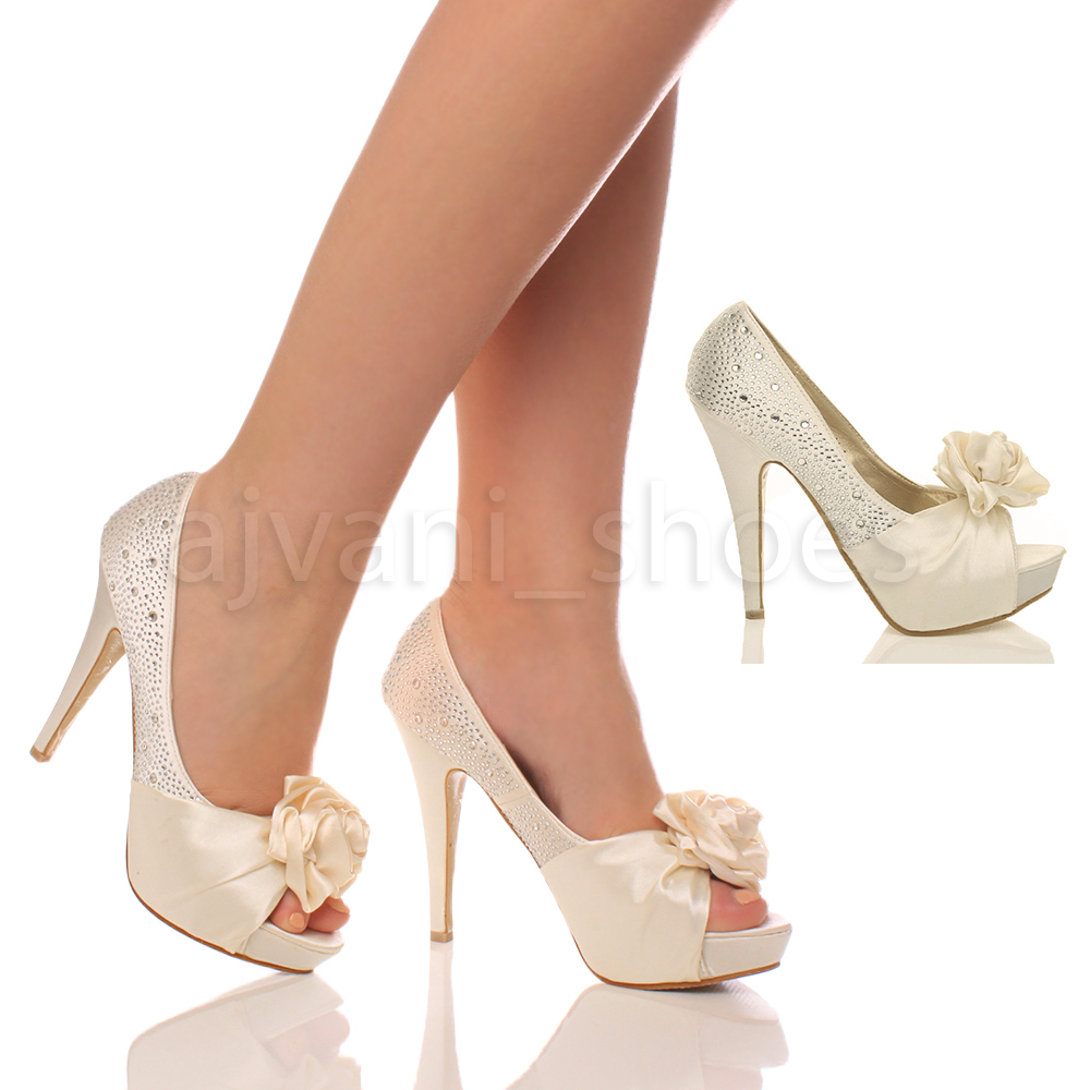 994d109ac6b731 Womens Ladies Evening Wedding Prom Party High Heel Platform Shoes PUMPS  Size Ivory UK 3   EU 36. About this product. Picture 1 of 2  Picture 2 of 2