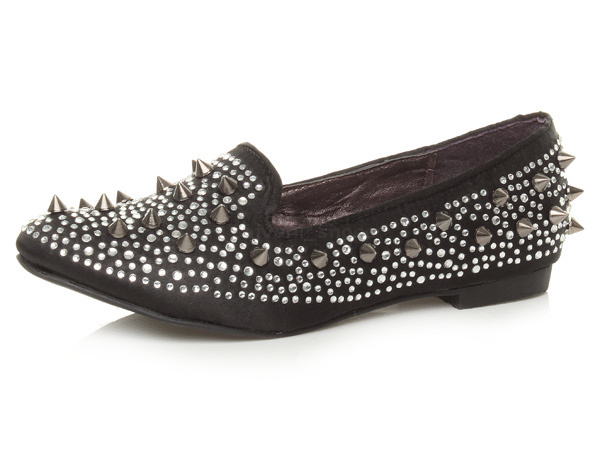 Mujer LADIES FLAT PUMPS PUNK GOTH SPIKE STUDDED BALLERINAS LOAFERS PUMPS FLAT zapatos Talla d95947