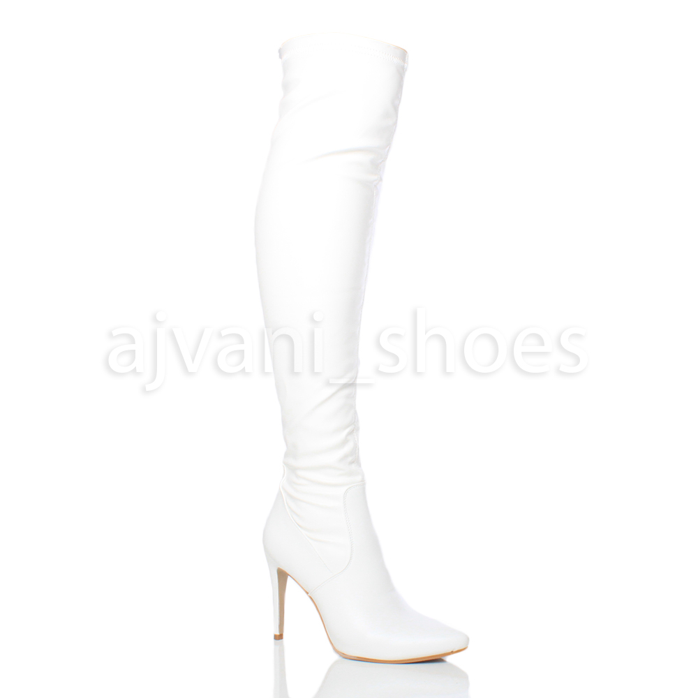 WOMENS-LADIES-HIGH-HEEL-POINTED-OVER-THE-KNEE-STRETCH-THIGH-BOOTS-SIZE