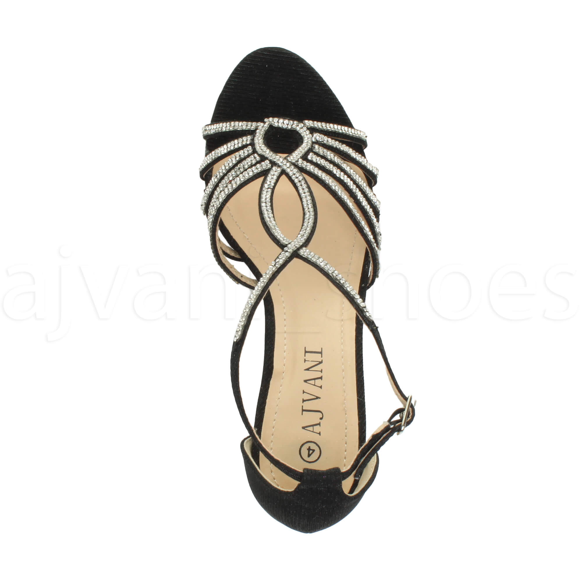 WOMENS-LADIES-MID-HEEL-STRAPPY-DIAMANTE-WEDDING-EVENING-T-BAR-SANDALS-SHOES-SIZE thumbnail 7