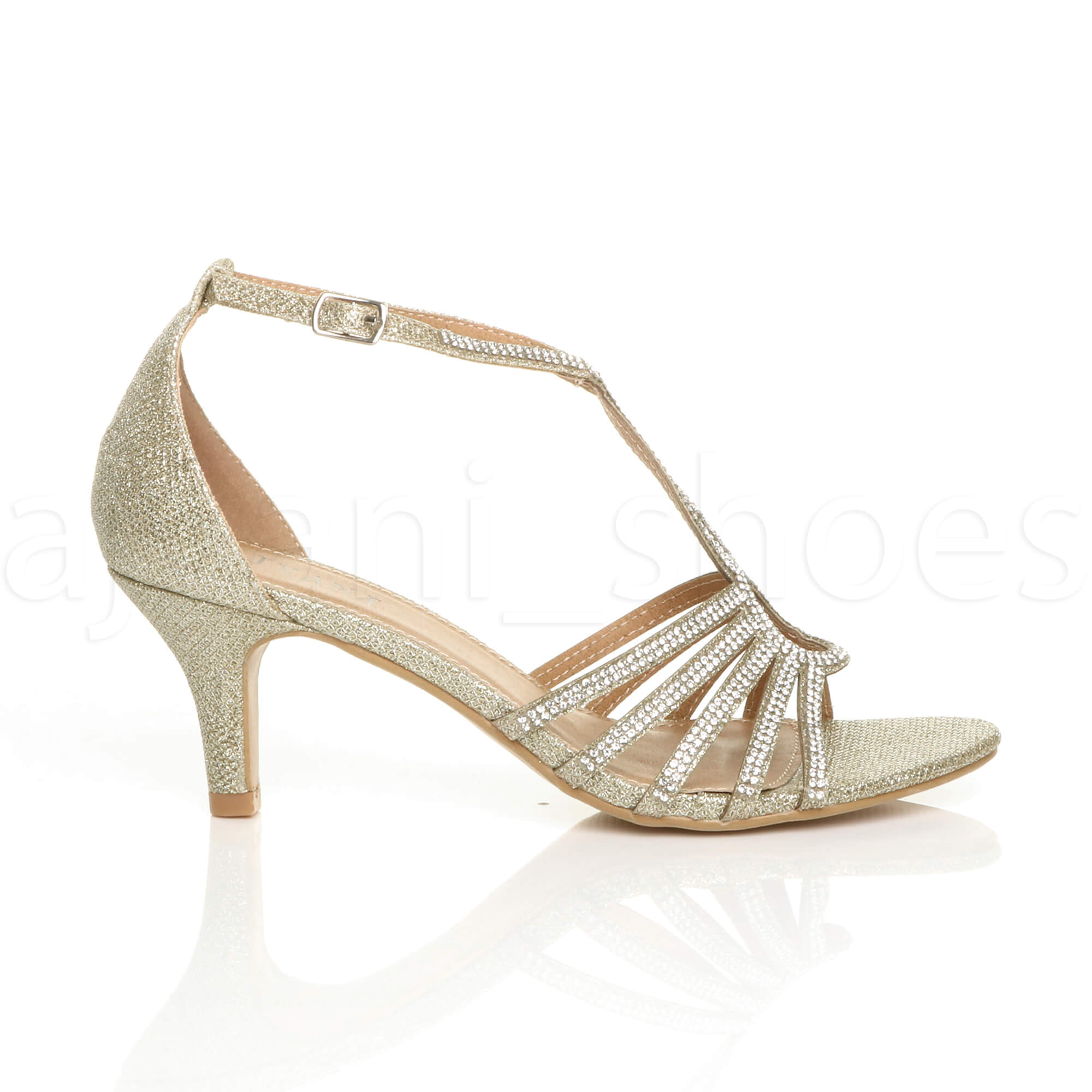 WOMENS-LADIES-MID-HEEL-STRAPPY-DIAMANTE-WEDDING-EVENING-T-BAR-SANDALS-SHOES-SIZE thumbnail 15