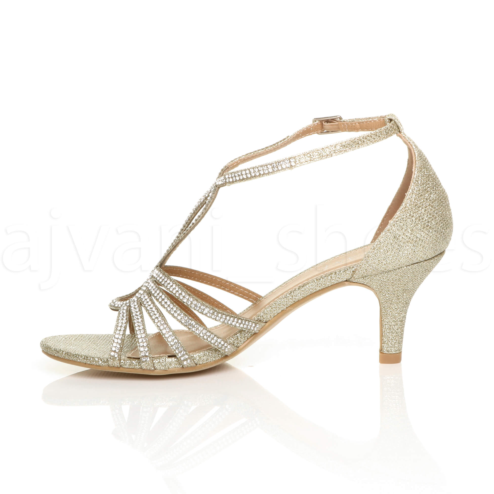 WOMENS-LADIES-MID-HEEL-STRAPPY-DIAMANTE-WEDDING-EVENING-T-BAR-SANDALS-SHOES-SIZE thumbnail 16