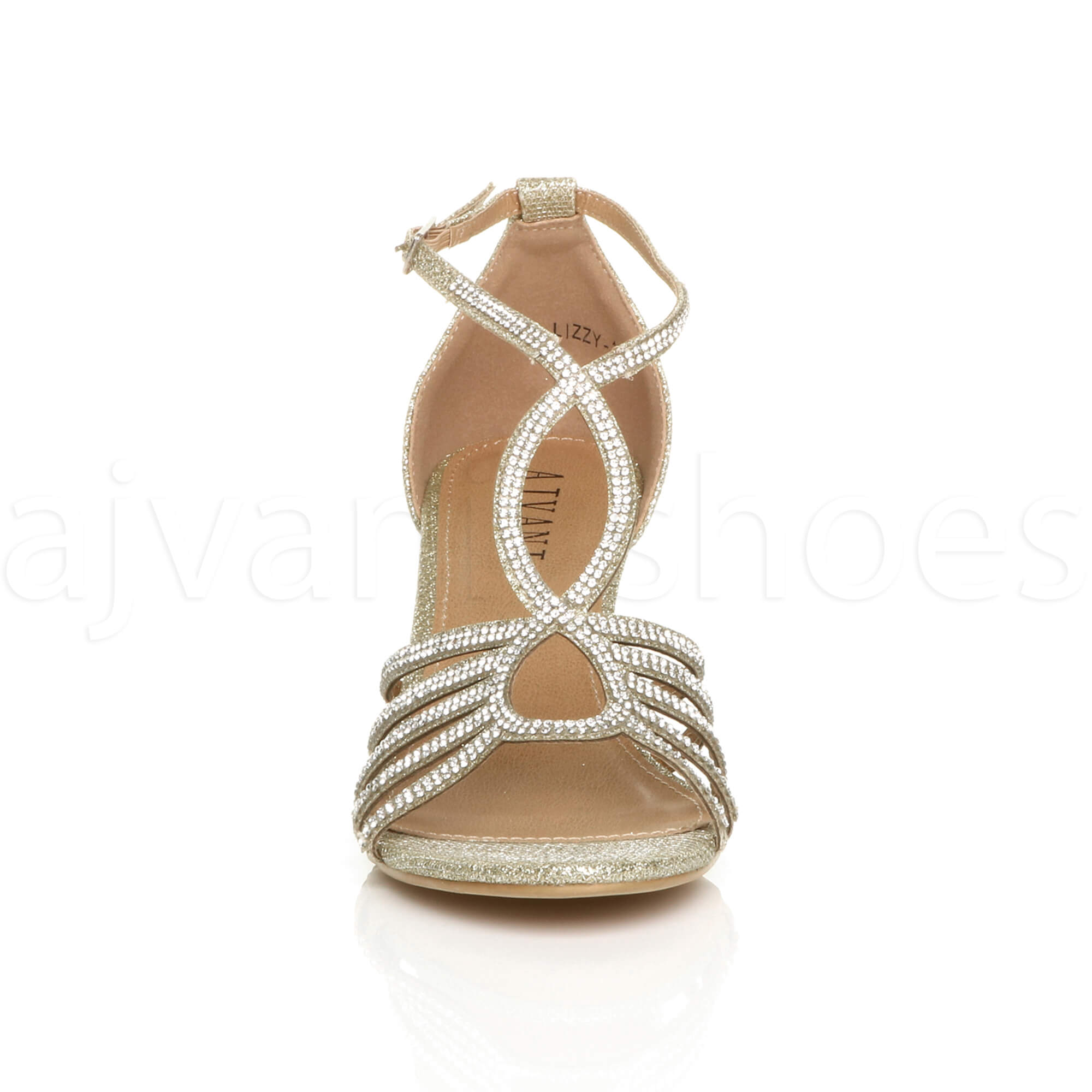 WOMENS-LADIES-MID-HEEL-STRAPPY-DIAMANTE-WEDDING-EVENING-T-BAR-SANDALS-SHOES-SIZE thumbnail 18