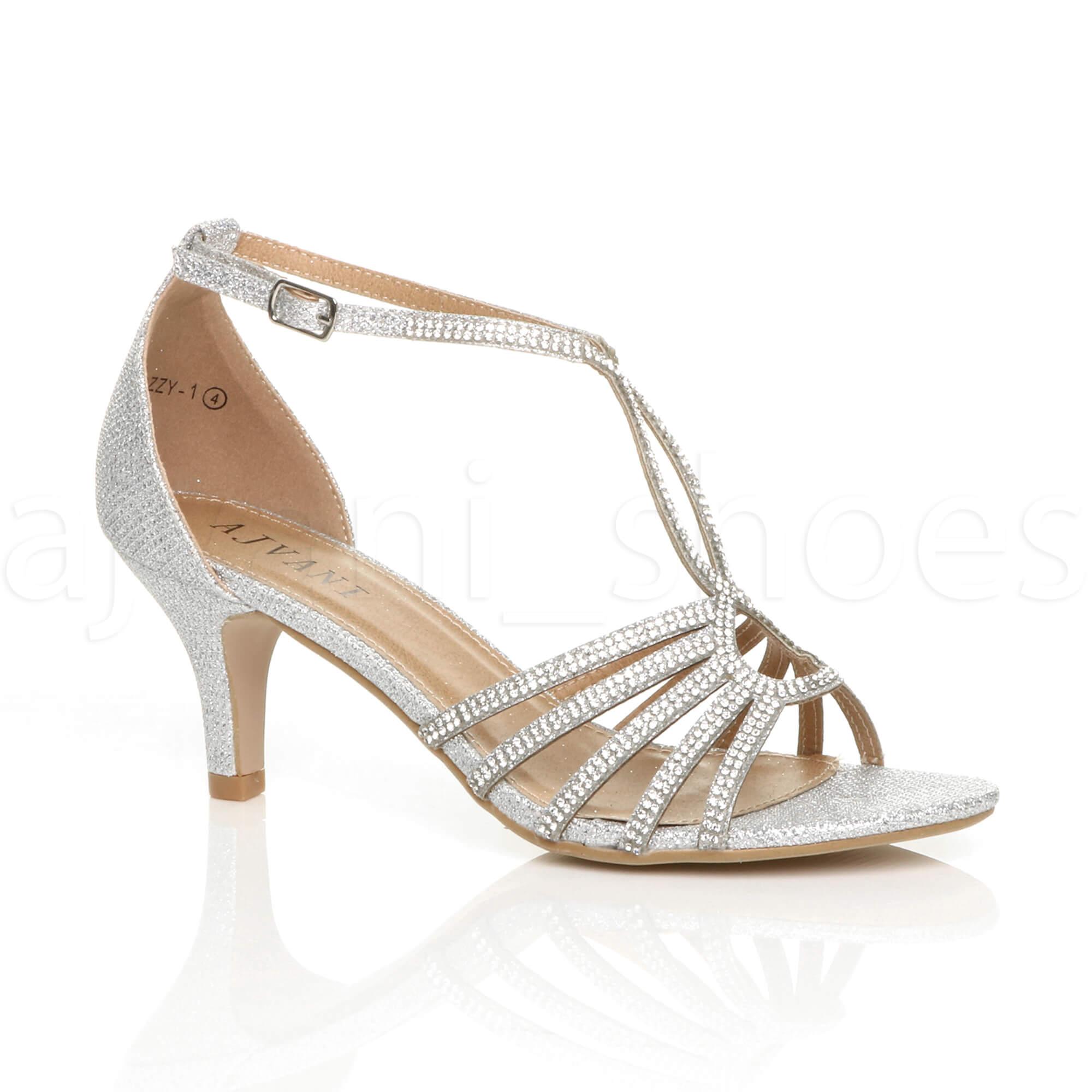 Donna slim tacco medio con cinturino fibbia formale tbar sandali scarpe numero